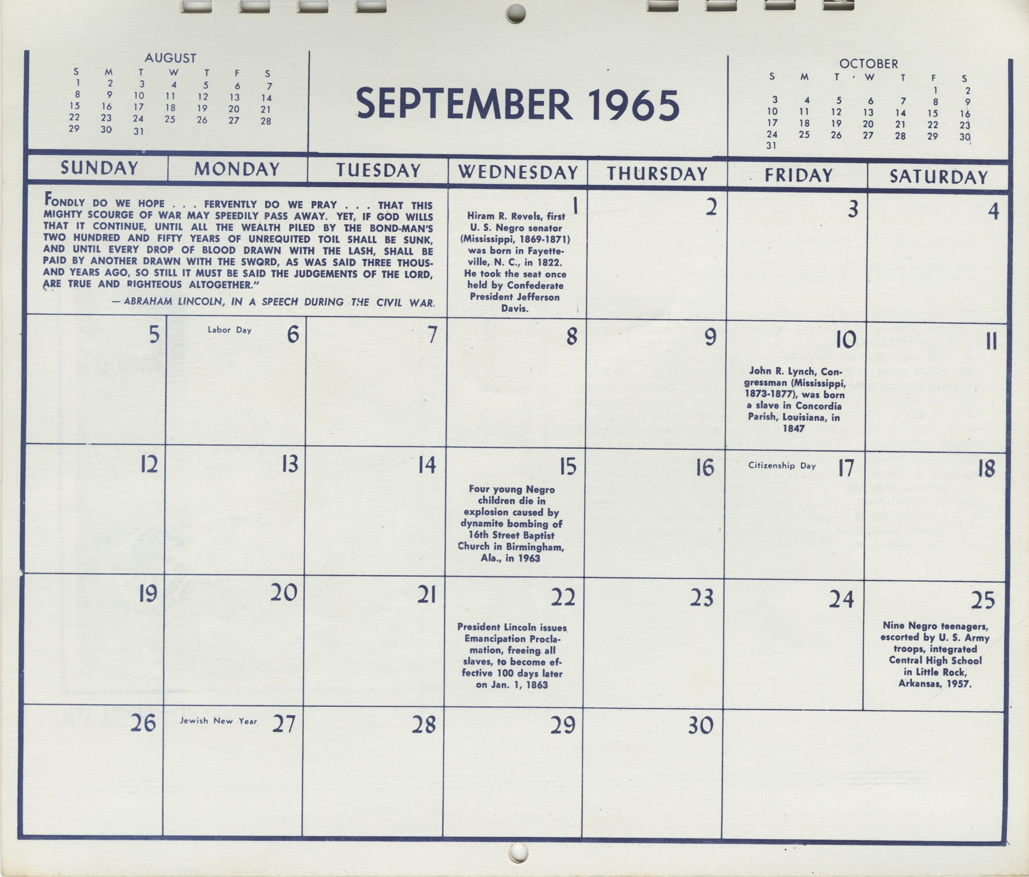 Southern Christian Leadership Conference Newsletter Calendar, September 1965, Bottom
