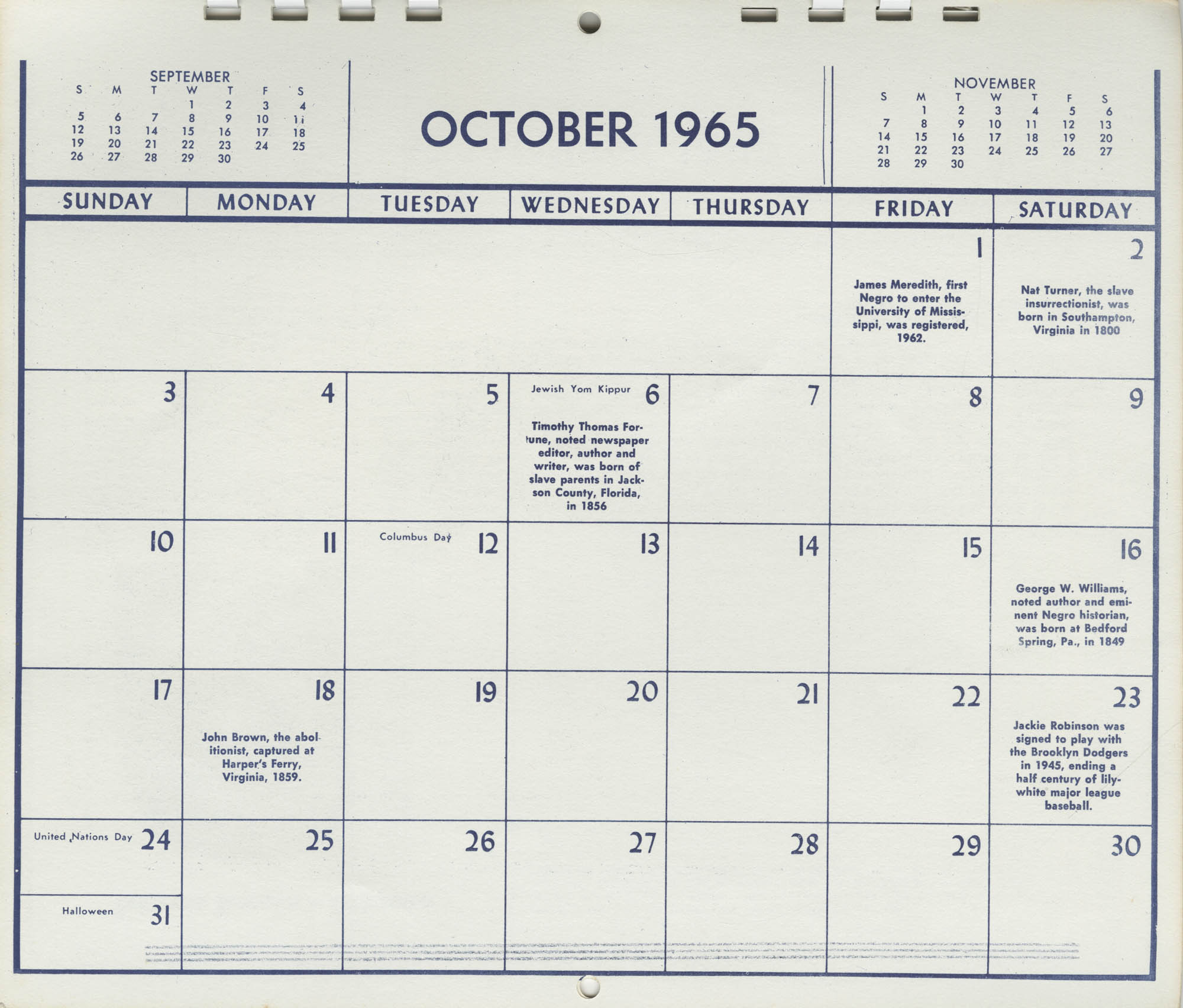 Southern Christian Leadership Conference Newsletter Calendar, October 1965, Bottom