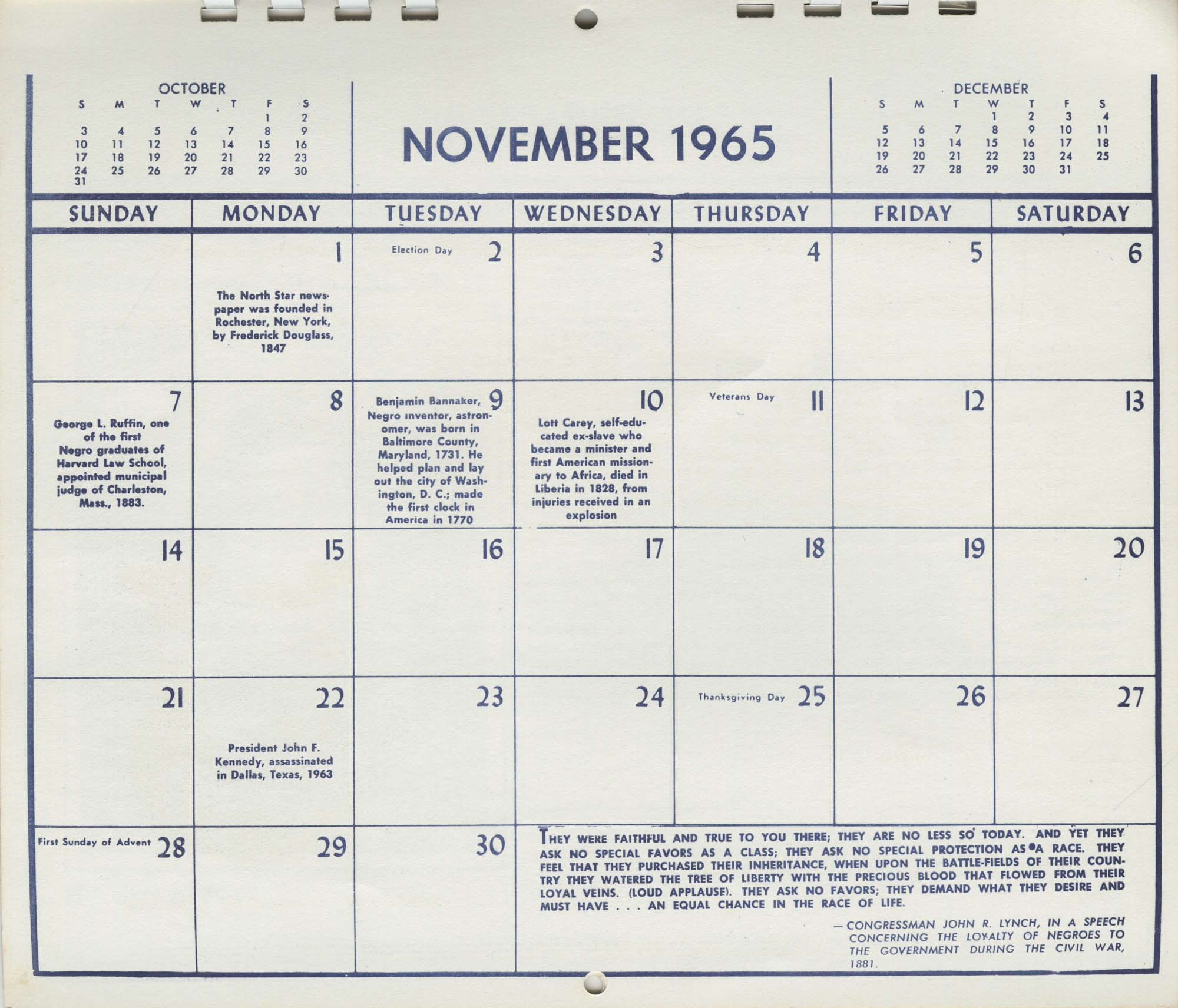 Southern Christian Leadership Conference Newsletter Calendar, November 1965, Bottom