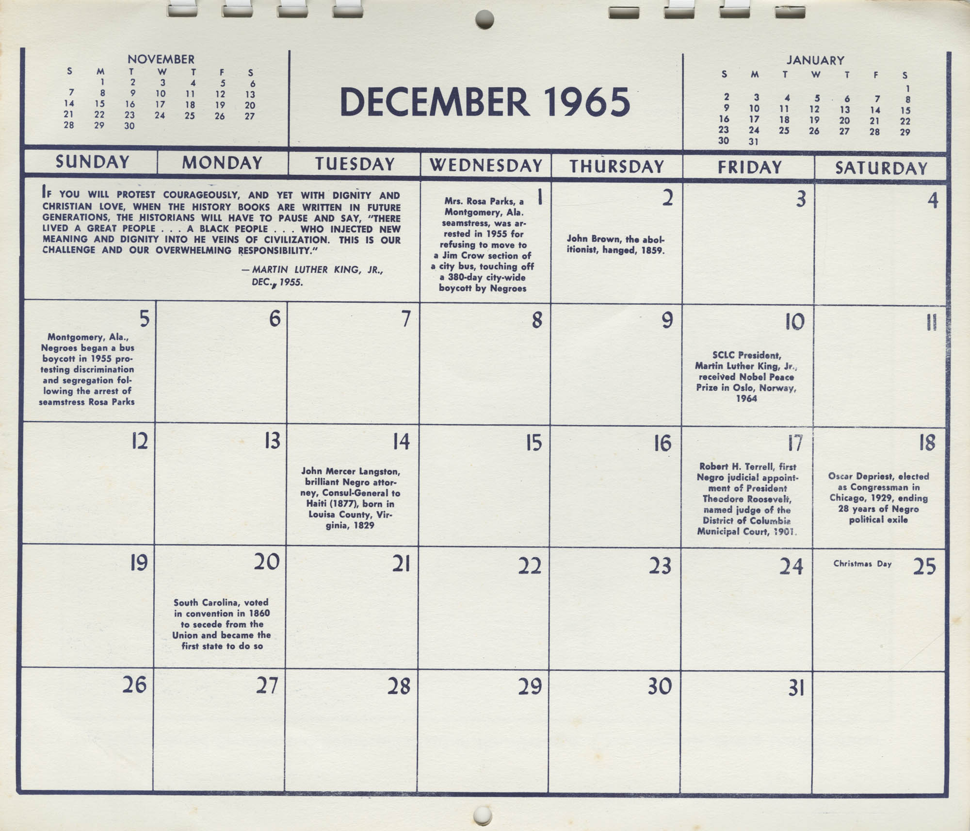 Southern Christian Leadership Conference Newsletter Calendar, December 1965, Bottom