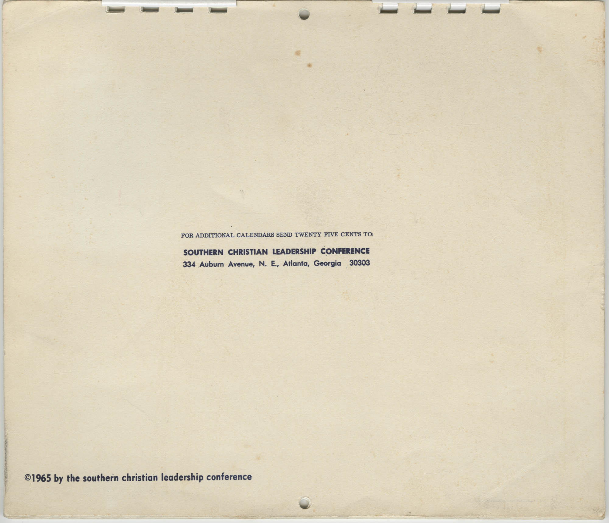 Southern Christian Leadership Conference Newsletter Calendar, 1965, Back Cover