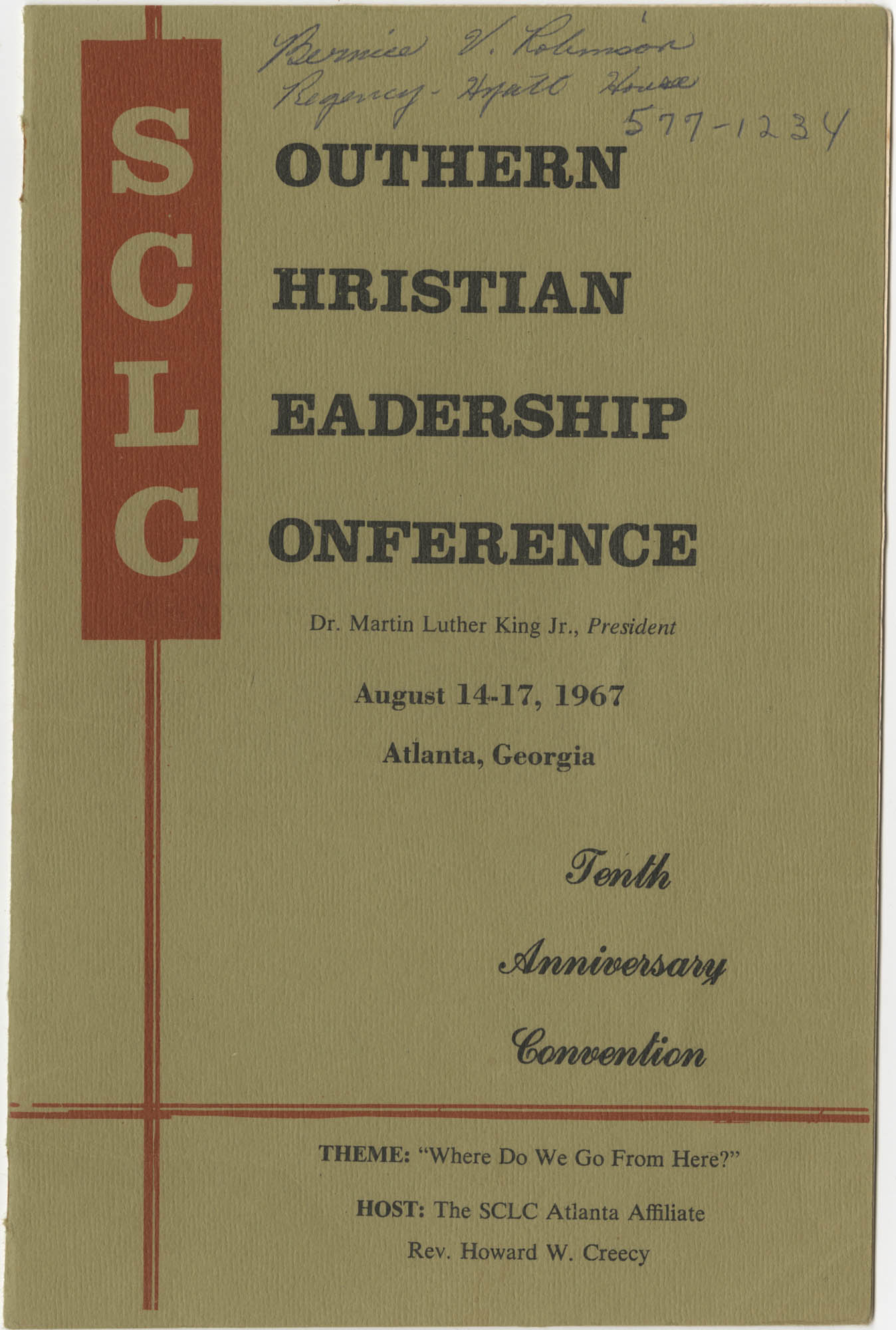 Southern Christian Leadership Conference, Tenth Anniversary Convention Program, Front Cover Exterior