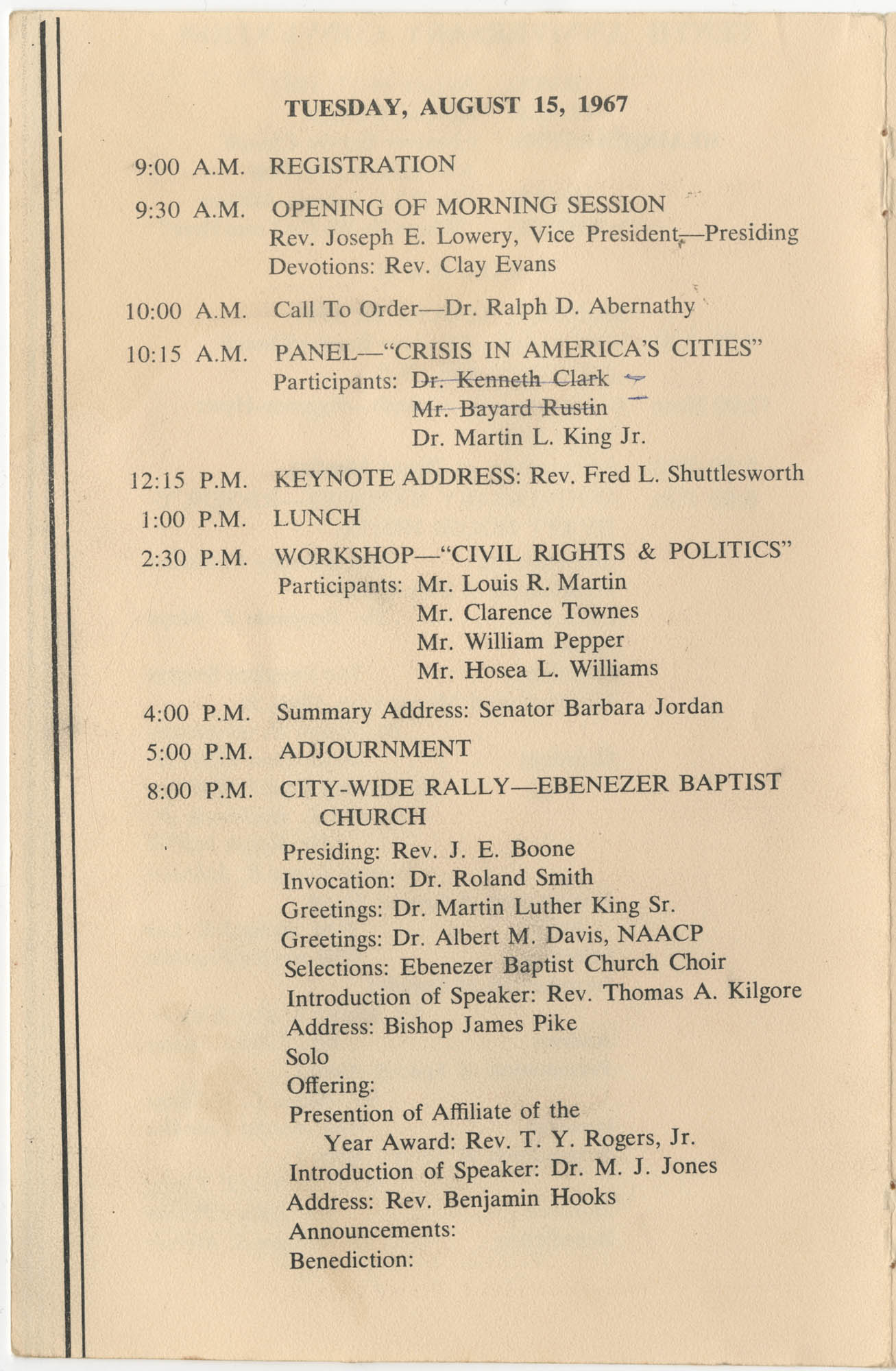 Southern Christian Leadership Conference, Tenth Anniversary Convention Program, Page 6