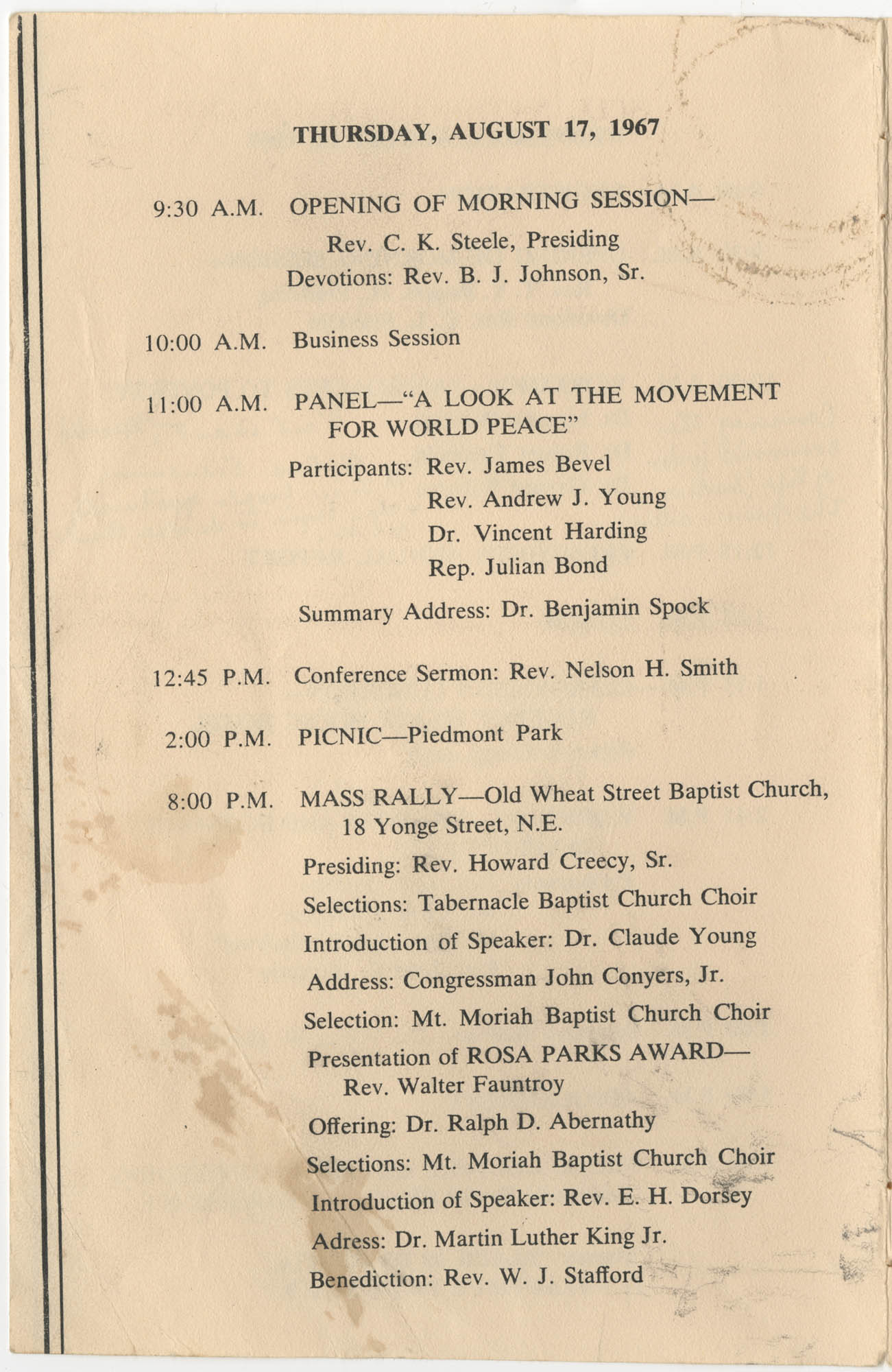 Southern Christian Leadership Conference, Tenth Anniversary Convention Program, Page 8