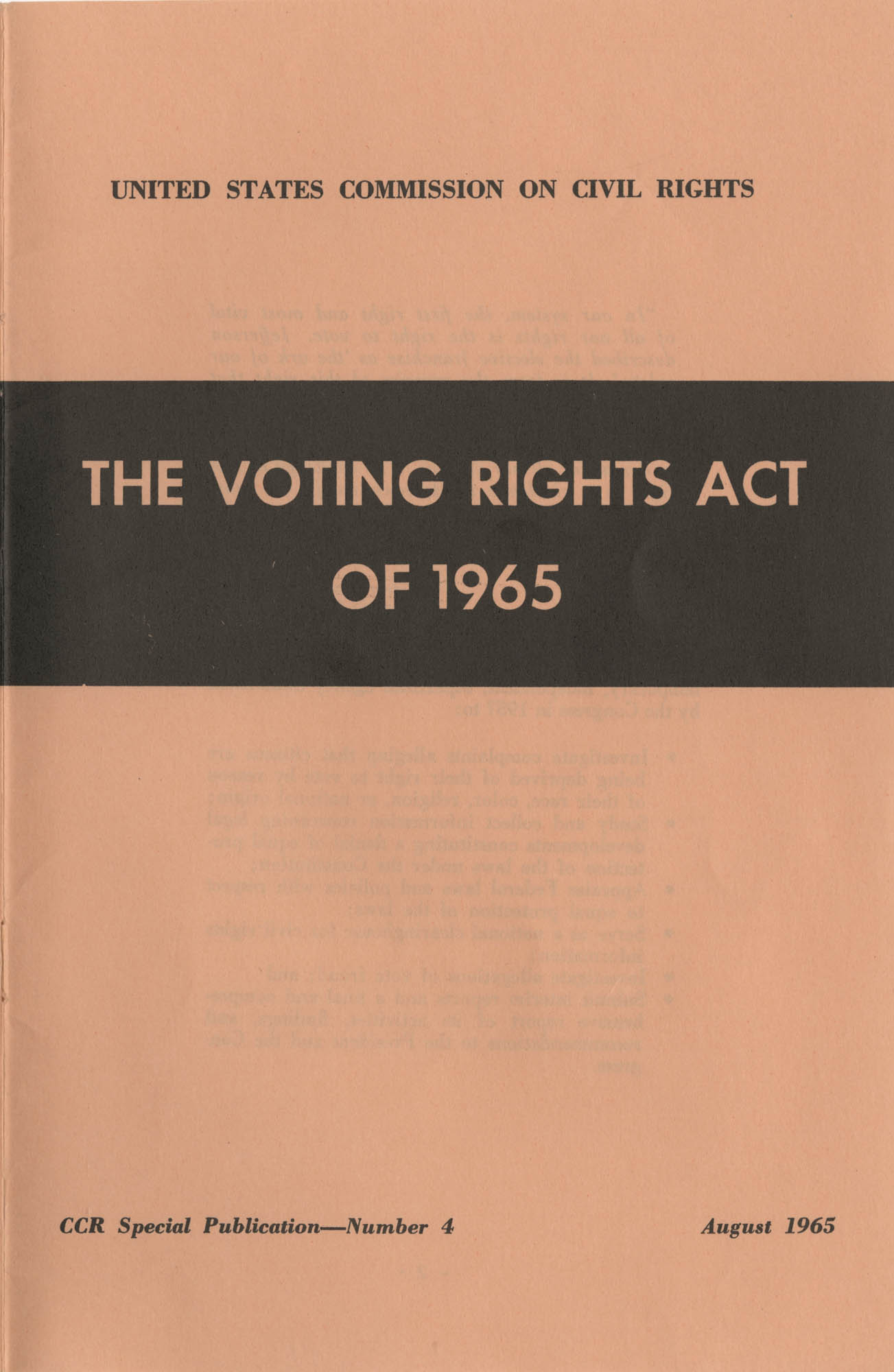 The Voting Rights Act of 1965, Front Cover