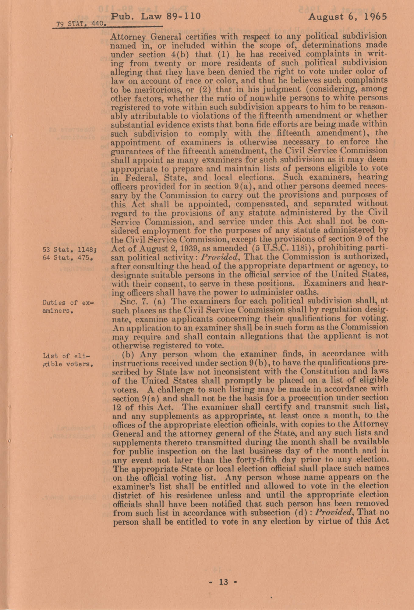 The Voting Rights Act of 1965, Page 13