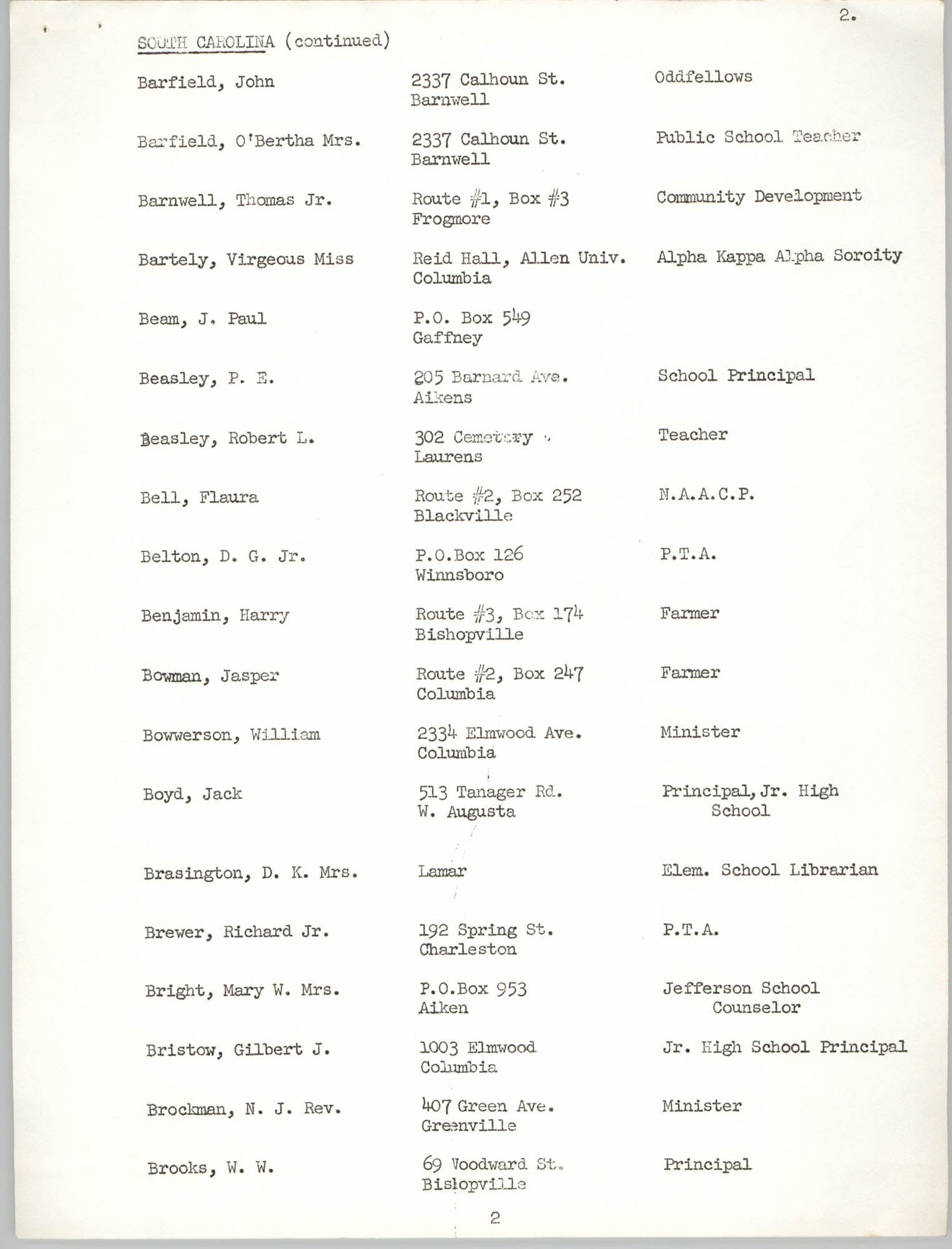 Registration, U.S. Commission on Civil Rights, Statewide Education Desegregation Conference, Page 2