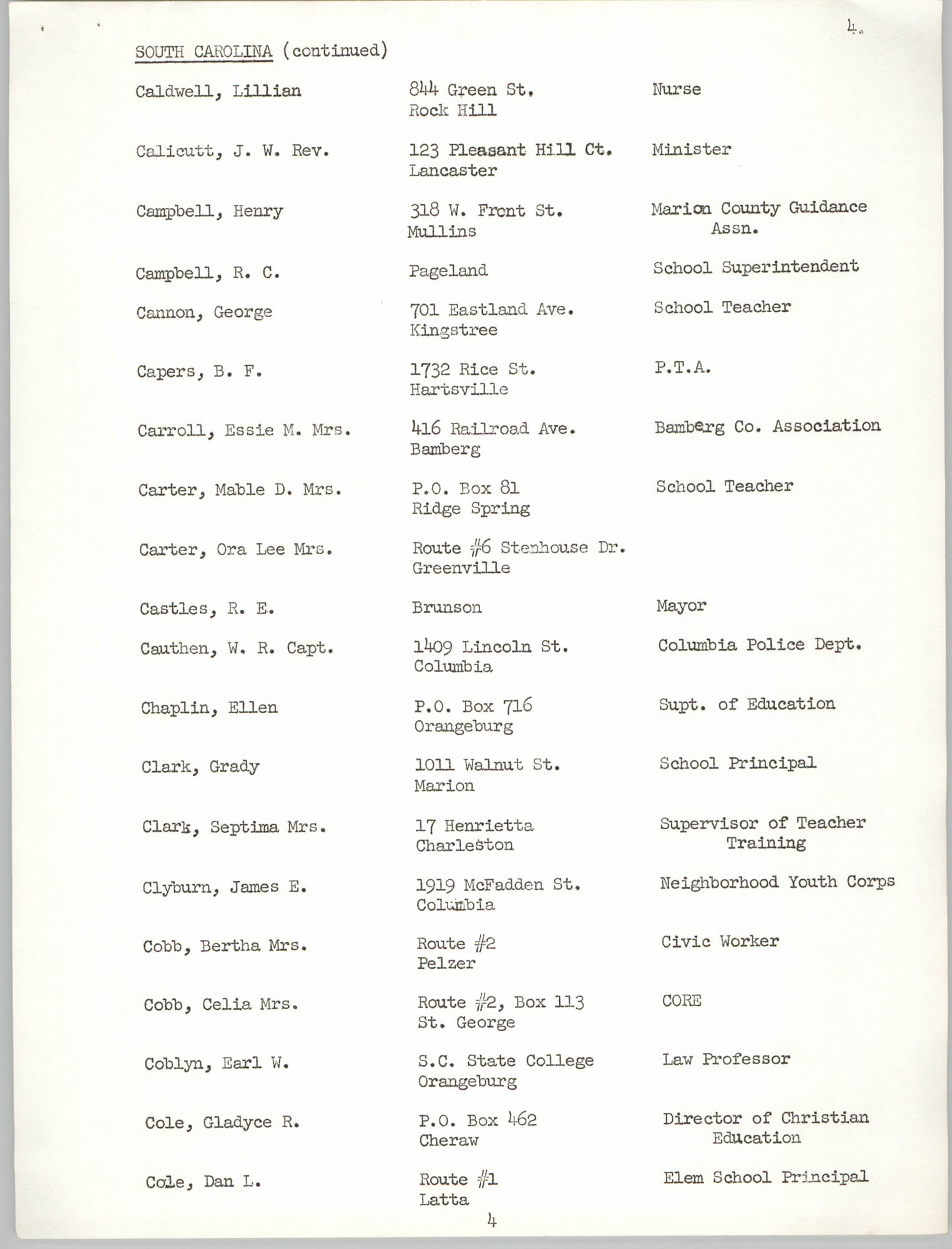 Registration, U.S. Commission on Civil Rights, Statewide Education Desegregation Conference, Page 4