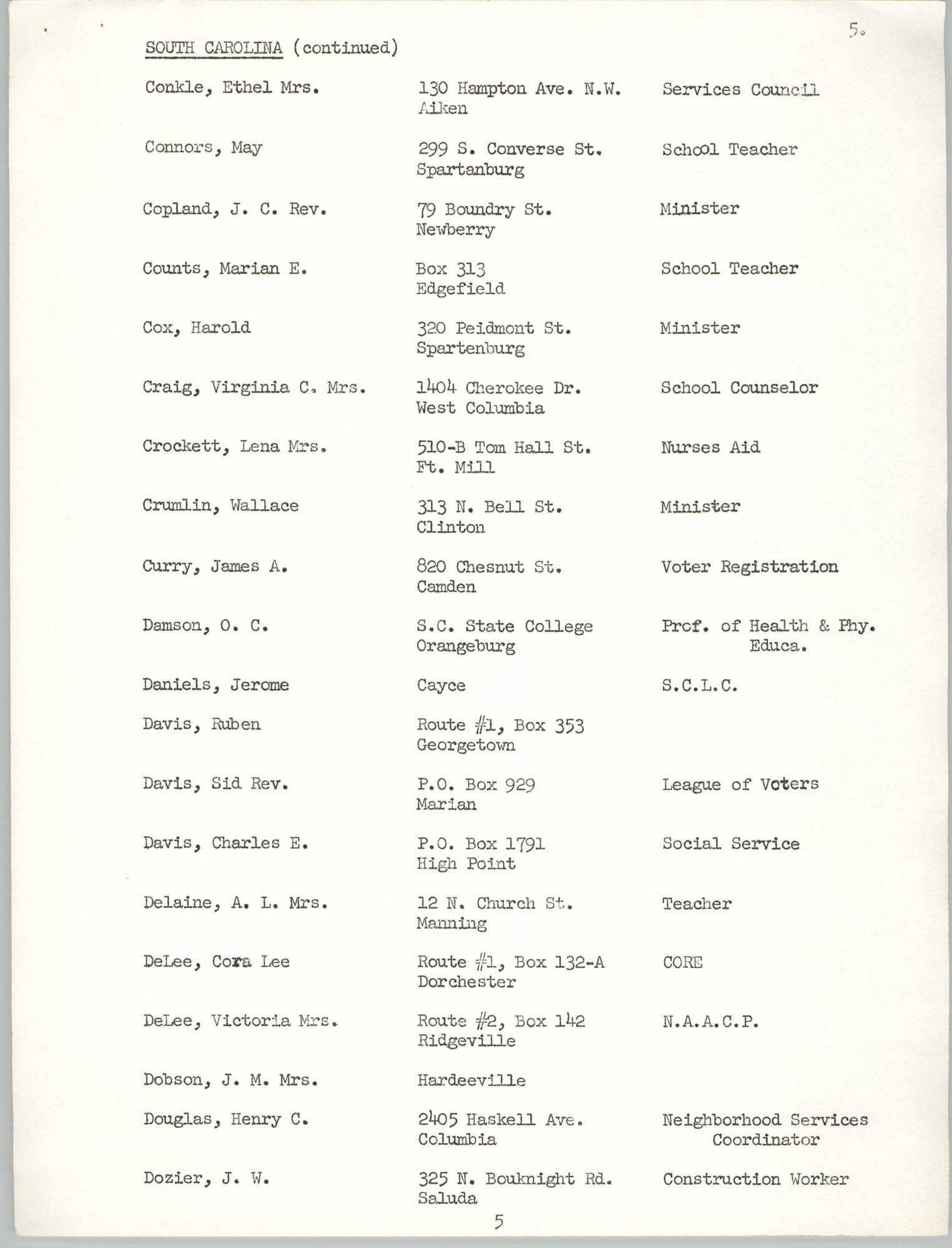 Registration, U.S. Commission on Civil Rights, Statewide Education Desegregation Conference, Page 5
