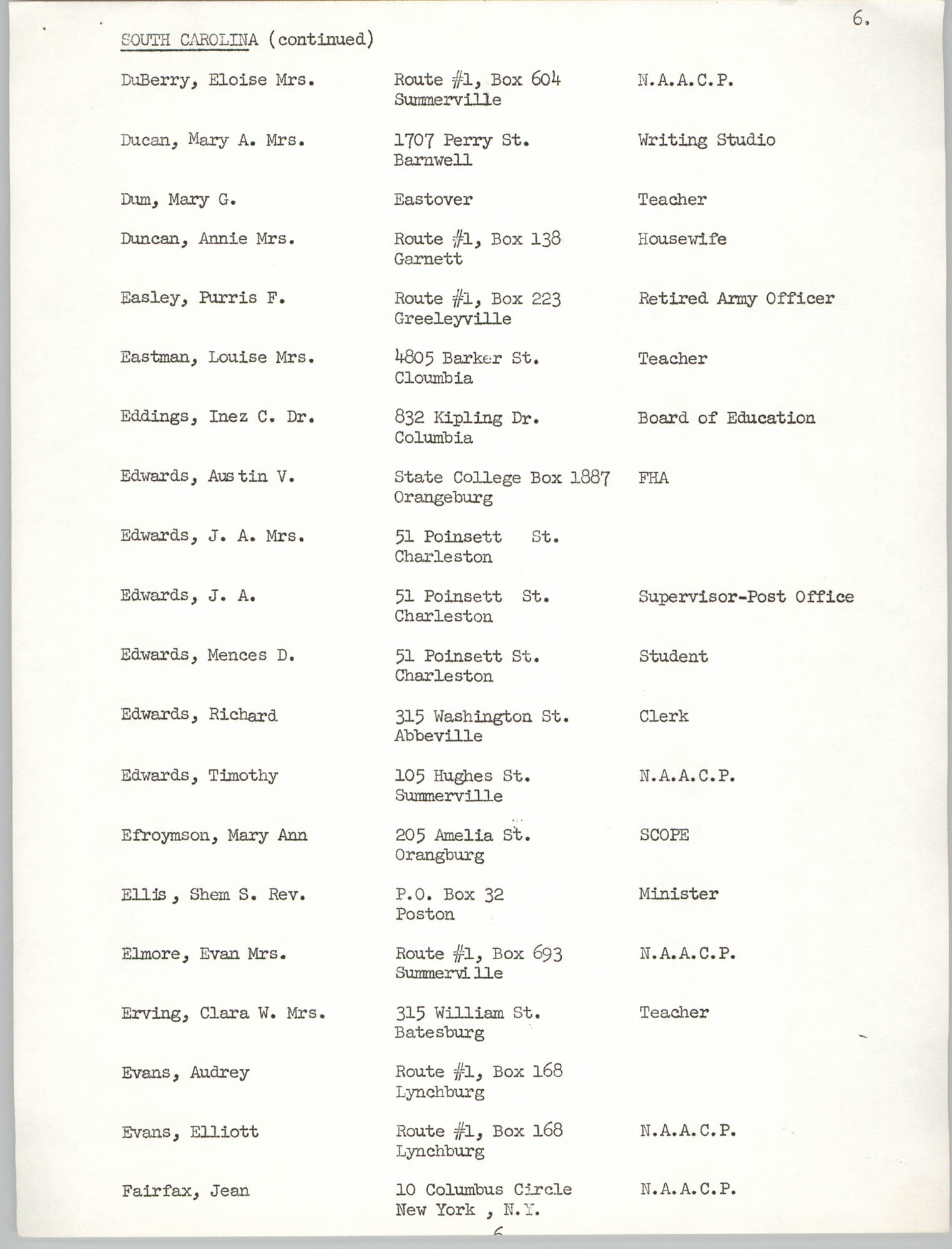 Registration, U.S. Commission on Civil Rights, Statewide Education Desegregation Conference, Page 6