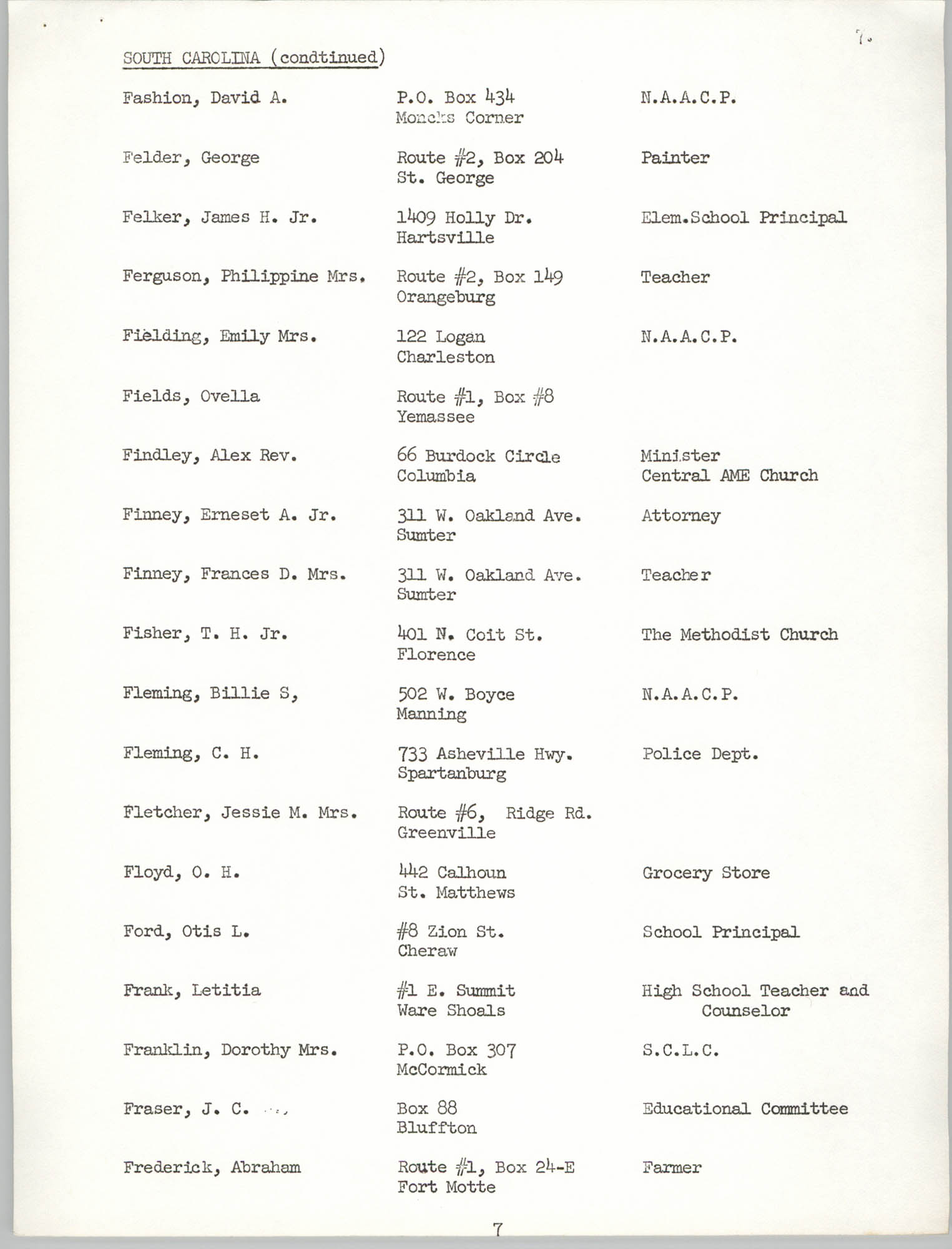 Registration, U.S. Commission on Civil Rights, Statewide Education Desegregation Conference, Page 7