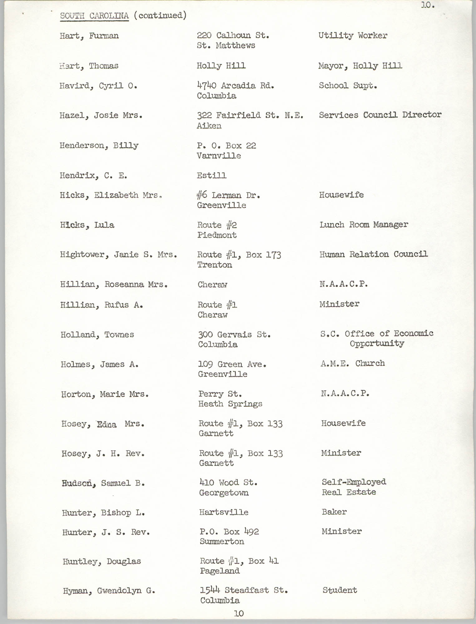 Registration, U.S. Commission on Civil Rights, Statewide Education Desegregation Conference, Page 10