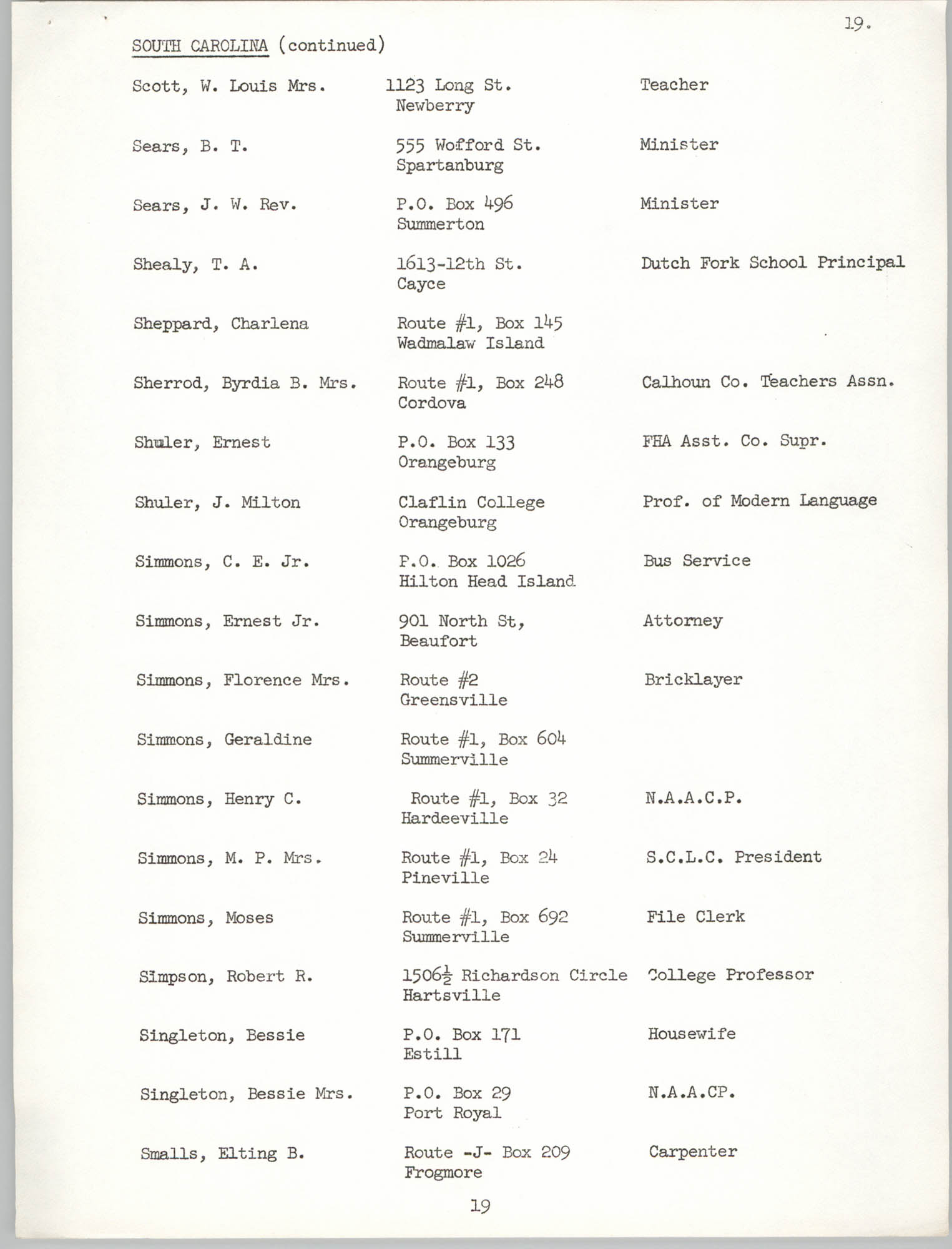 Registration, U.S. Commission on Civil Rights, Statewide Education Desegregation Conference, Page 19