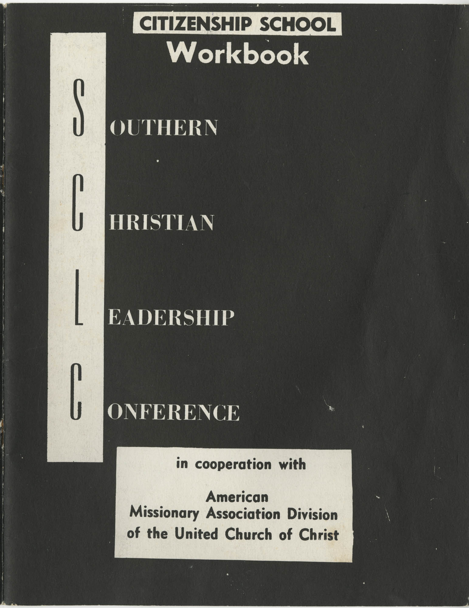 Southern Christian Leadership Conference Citizenship School Workbook, Front Cover Exterior