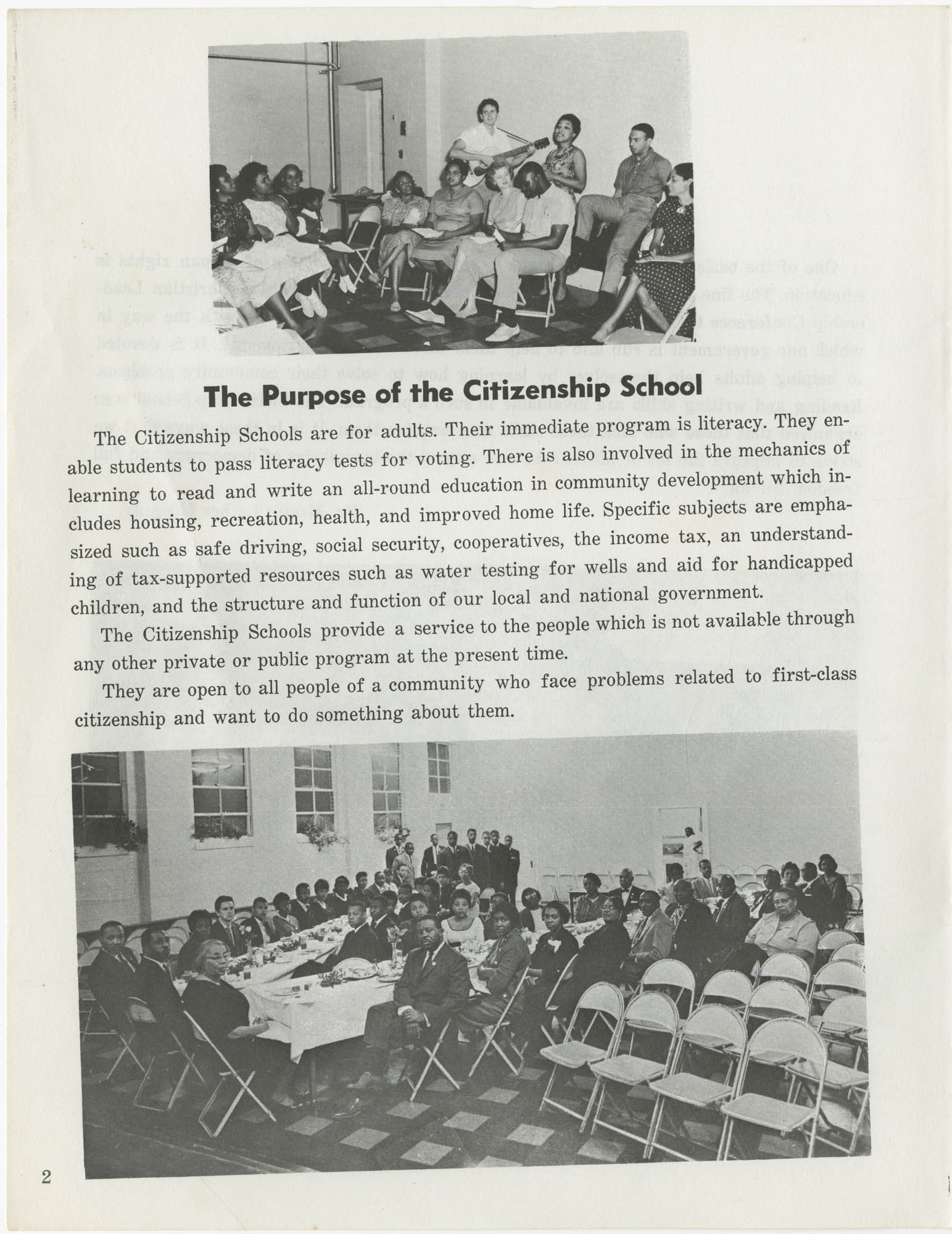 Southern Christian Leadership Conference Citizenship School Workbook, Page 2