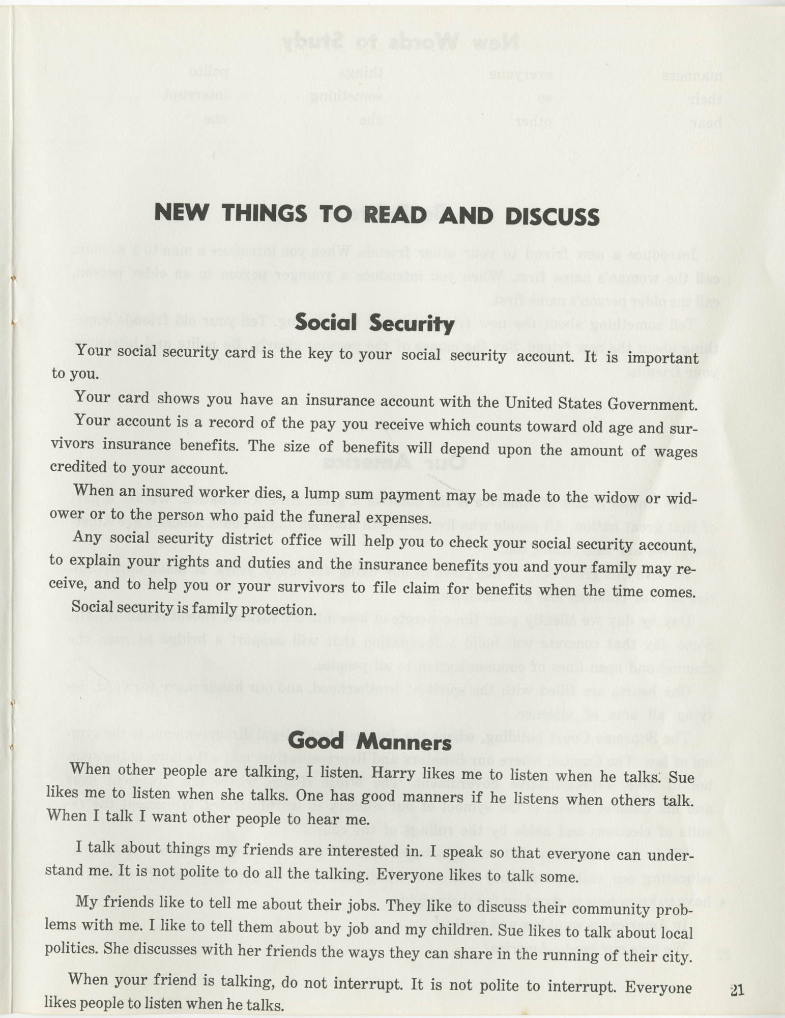 Southern Christian Leadership Conference Citizenship School Workbook, Page 21