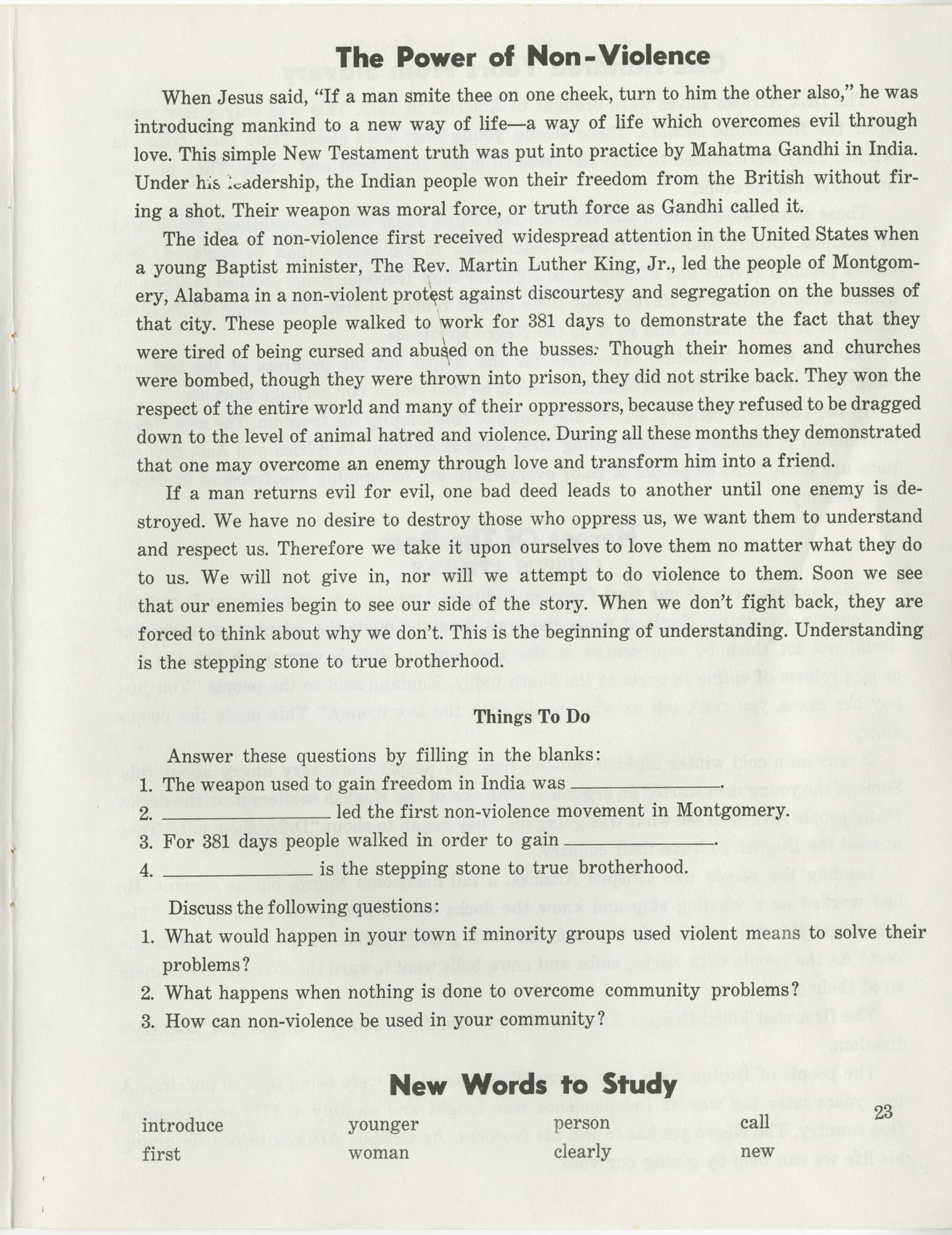 Southern Christian Leadership Conference Citizenship School Workbook, Page 23