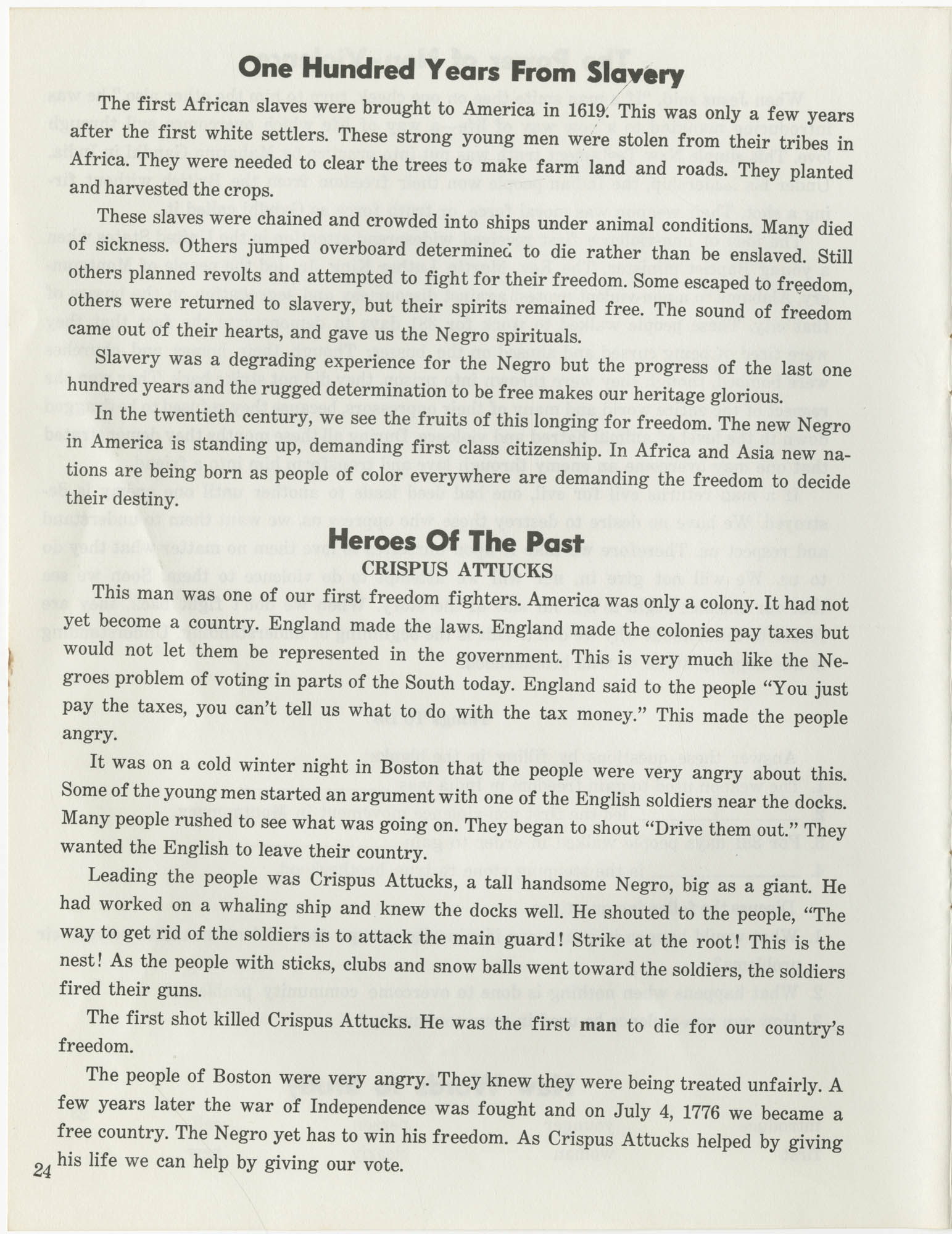Southern Christian Leadership Conference Citizenship School Workbook, Page 24