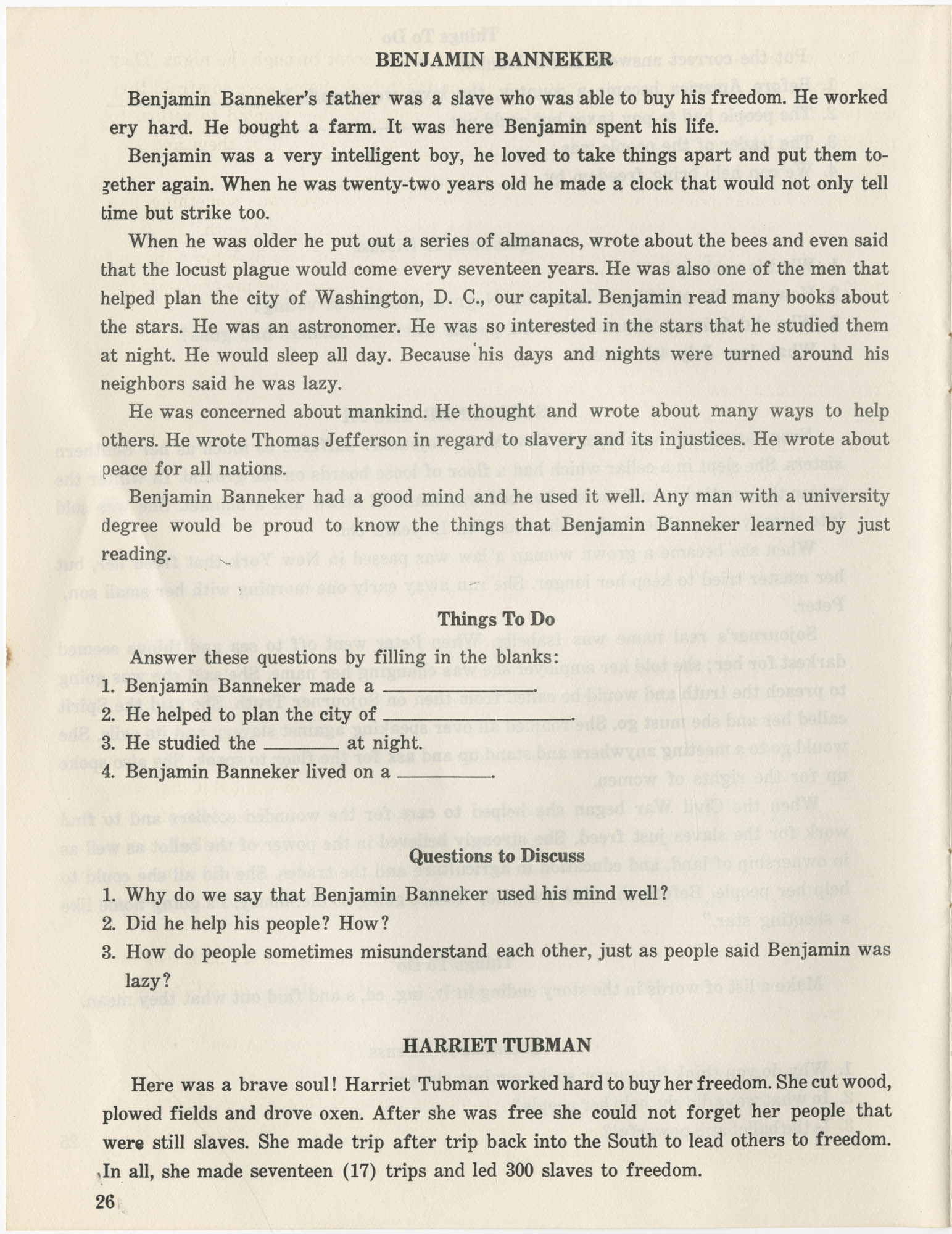 Southern Christian Leadership Conference Citizenship School Workbook, Page 26
