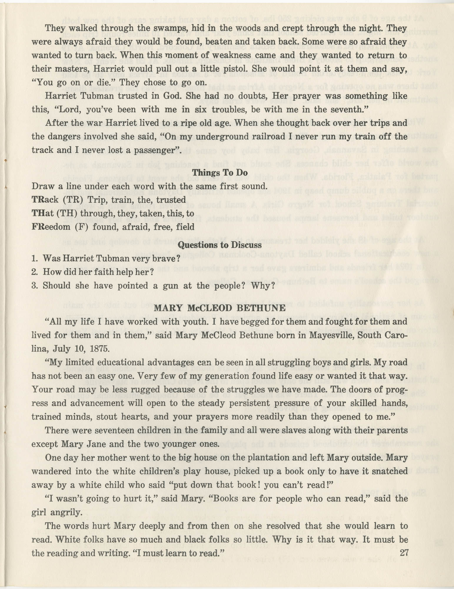 Southern Christian Leadership Conference Citizenship School Workbook, Page 27