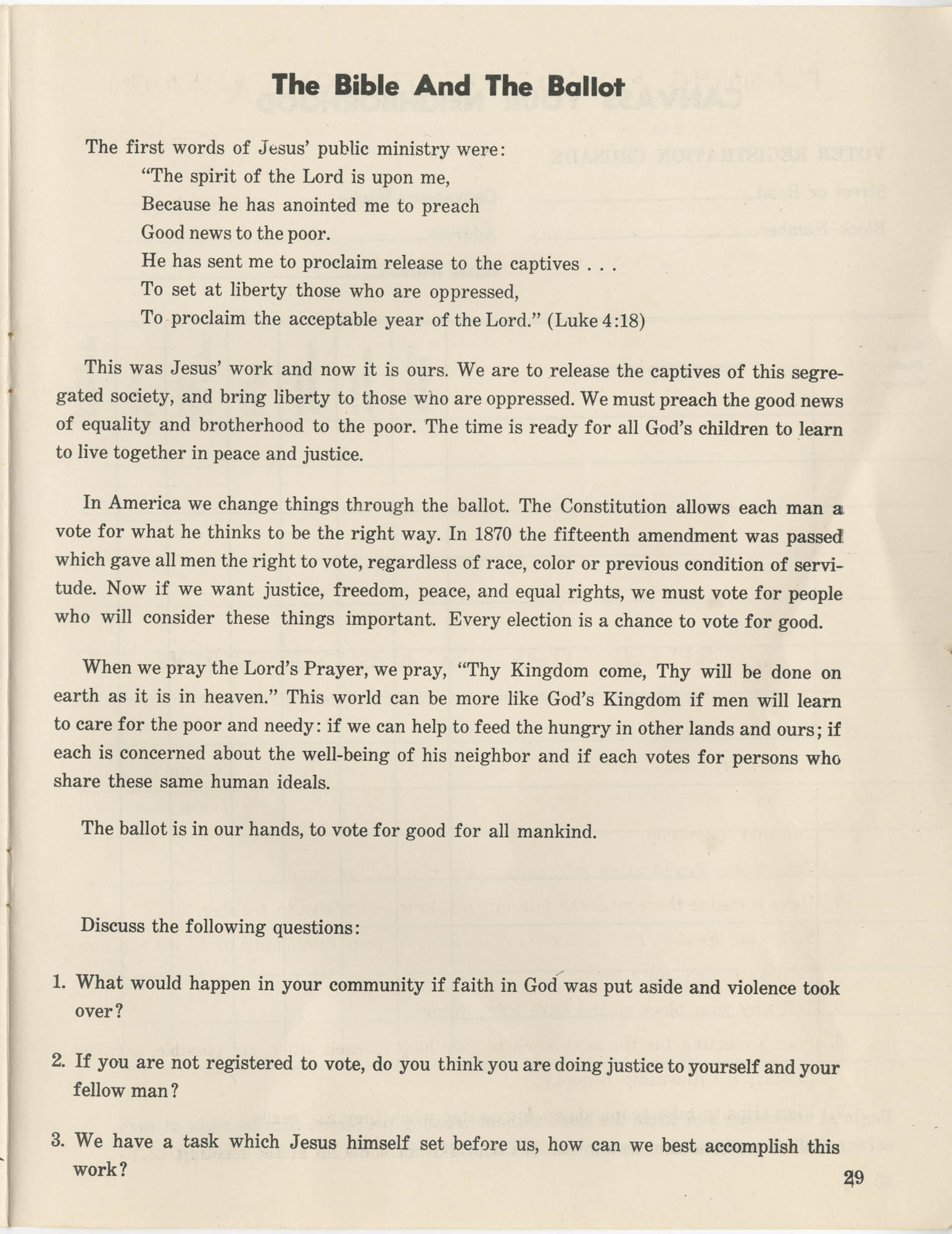 Southern Christian Leadership Conference Citizenship School Workbook, Page 29