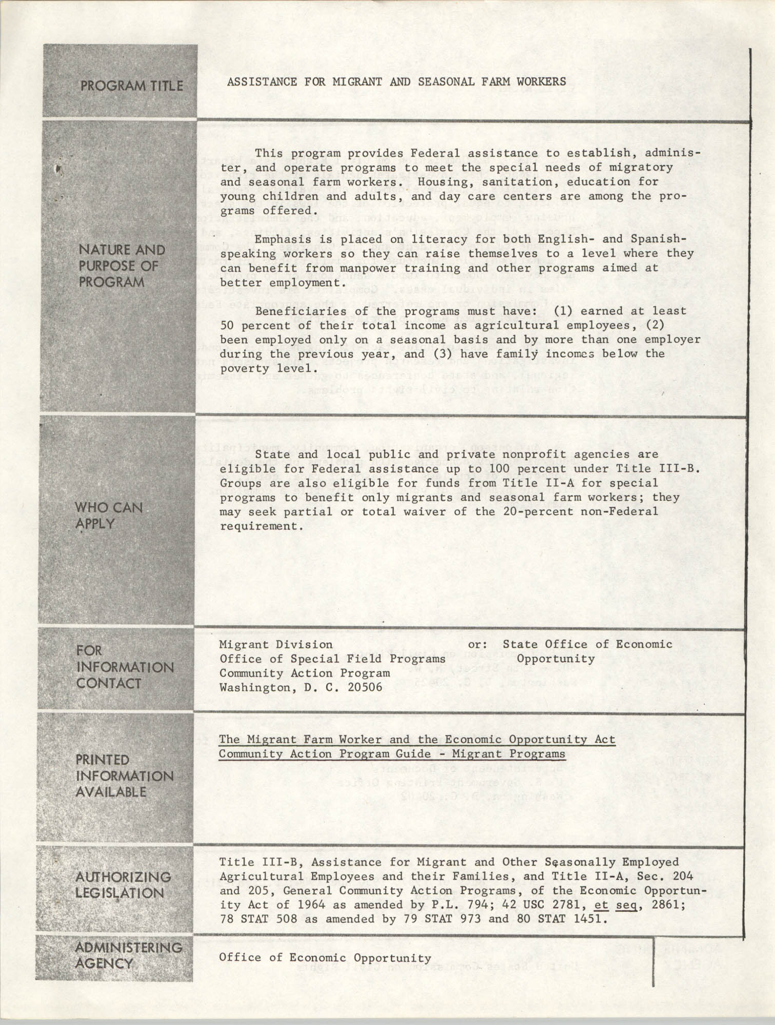Federal Assistance Programs, Page 1