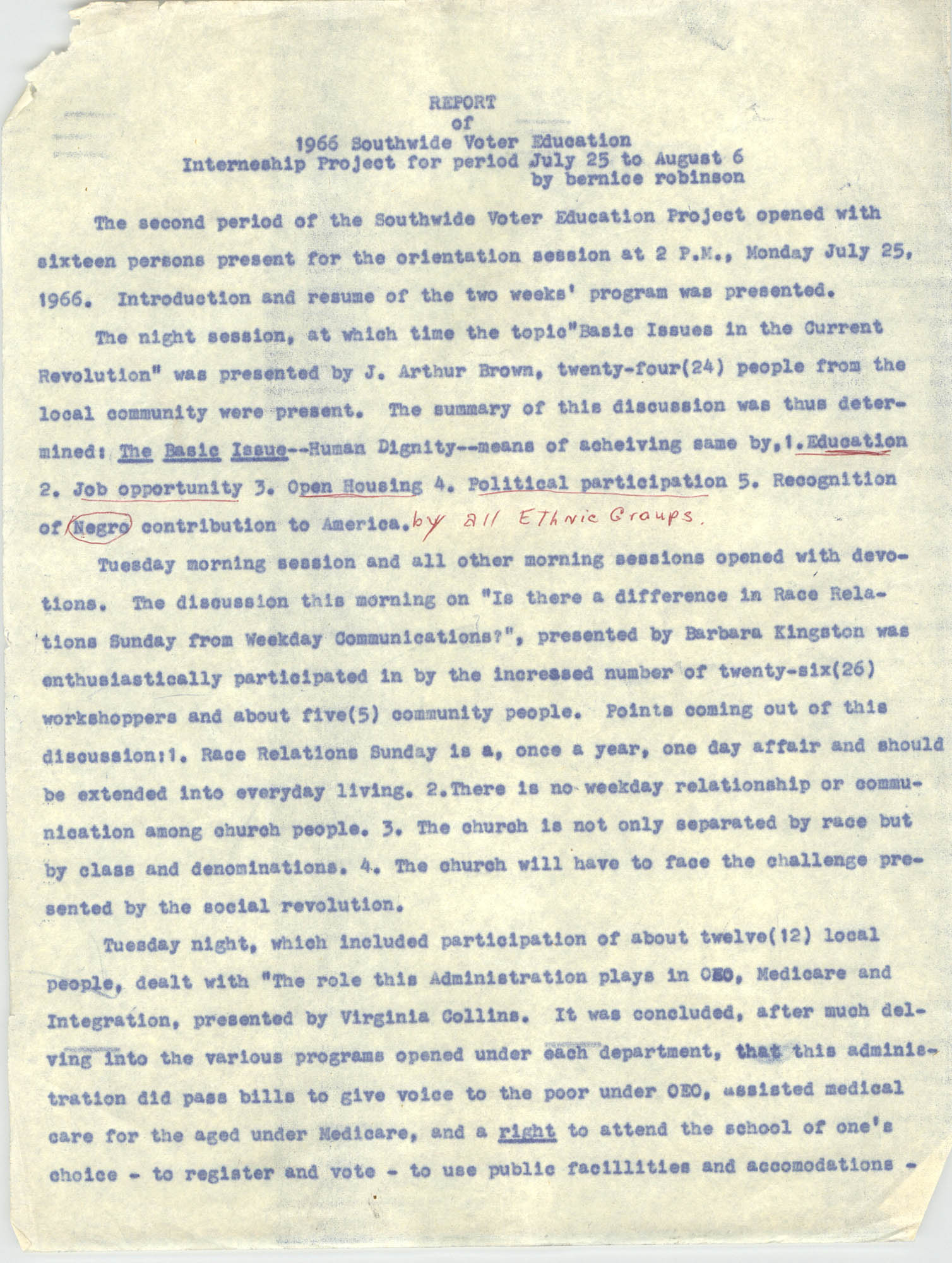 Report on Southwide Voter Education Workshop, 1966, Page 1