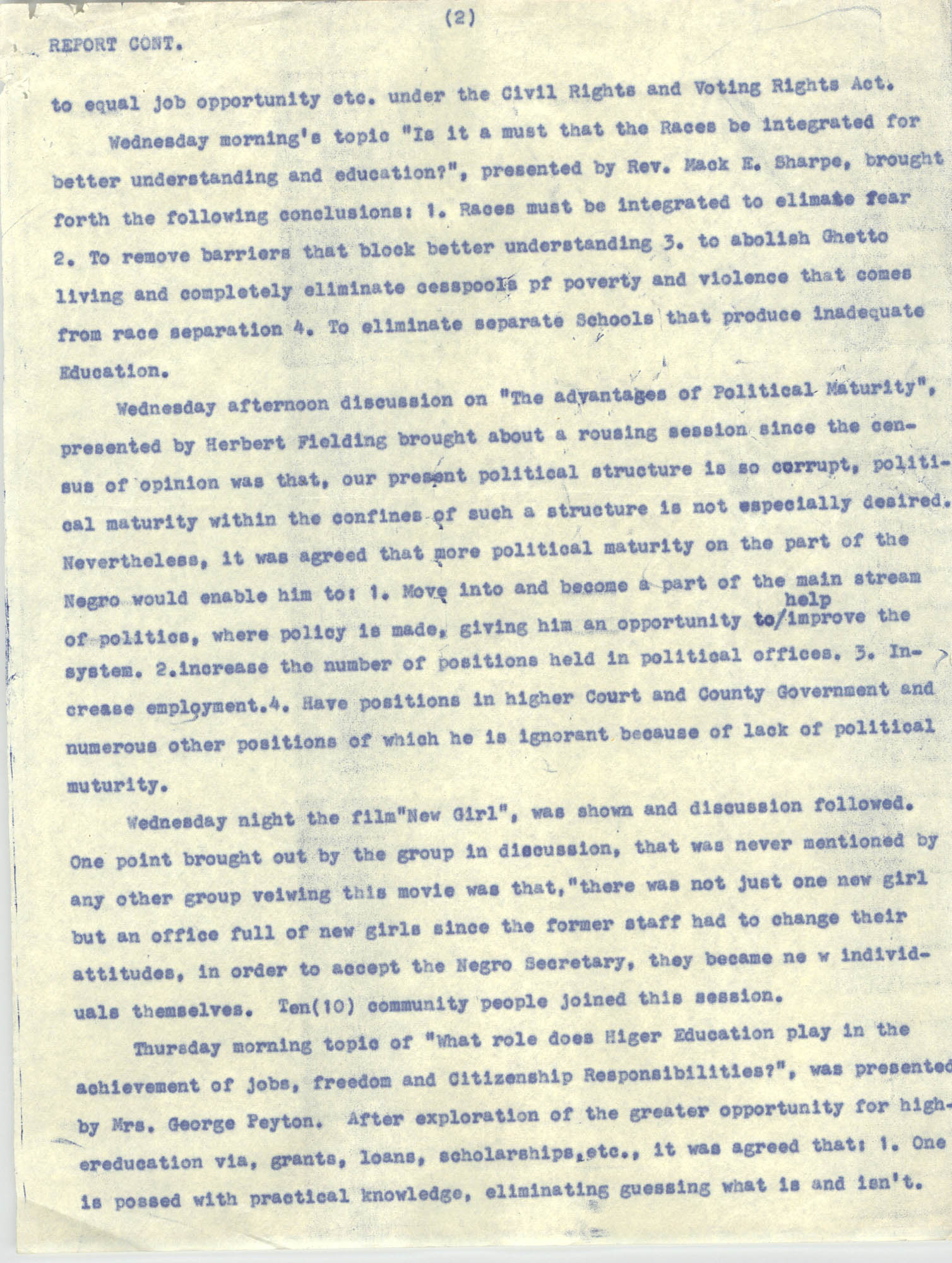 Report on Southwide Voter Education Workshop, 1966, Page 2