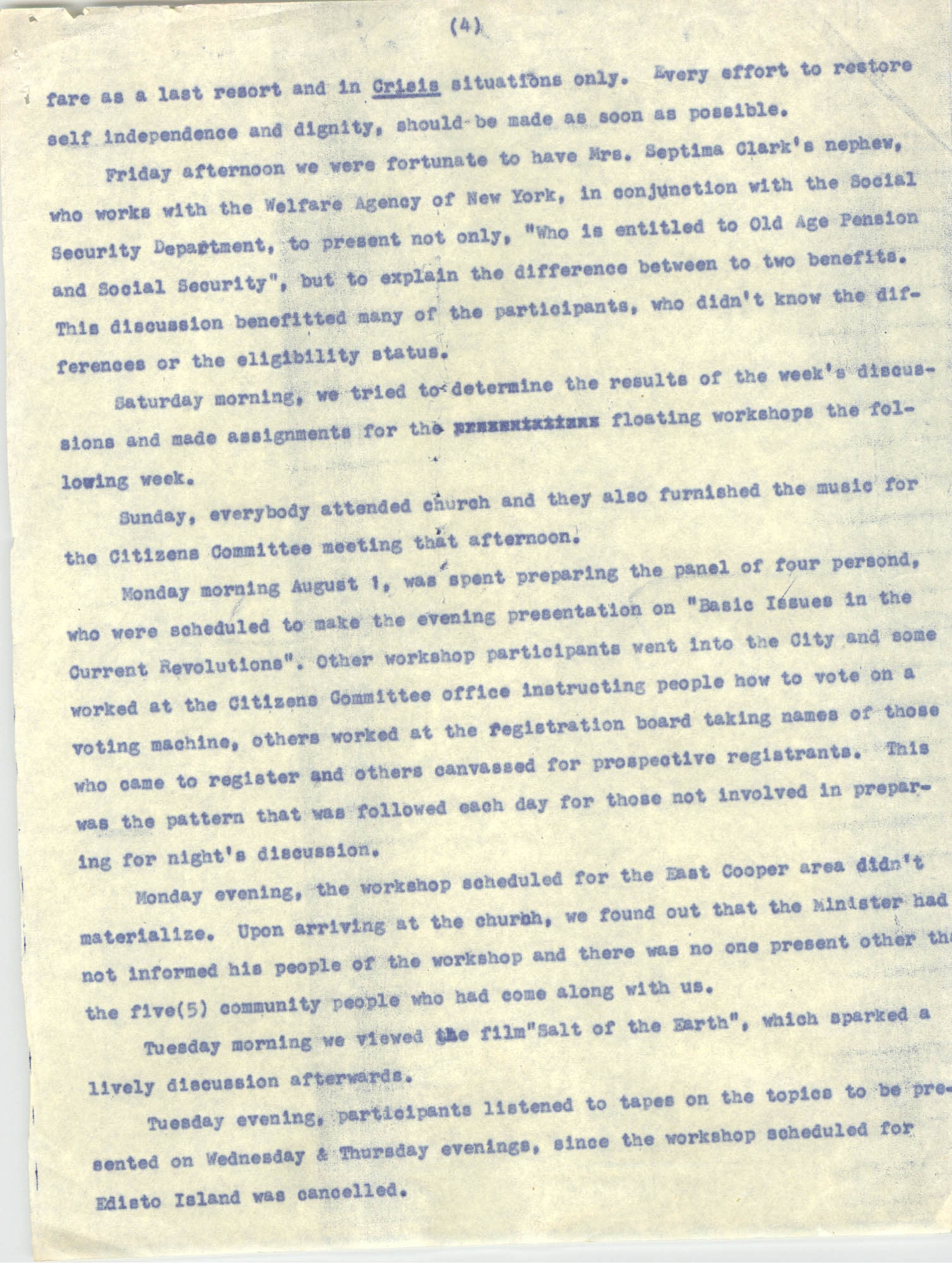 Report on Southwide Voter Education Workshop, 1966, Page 4