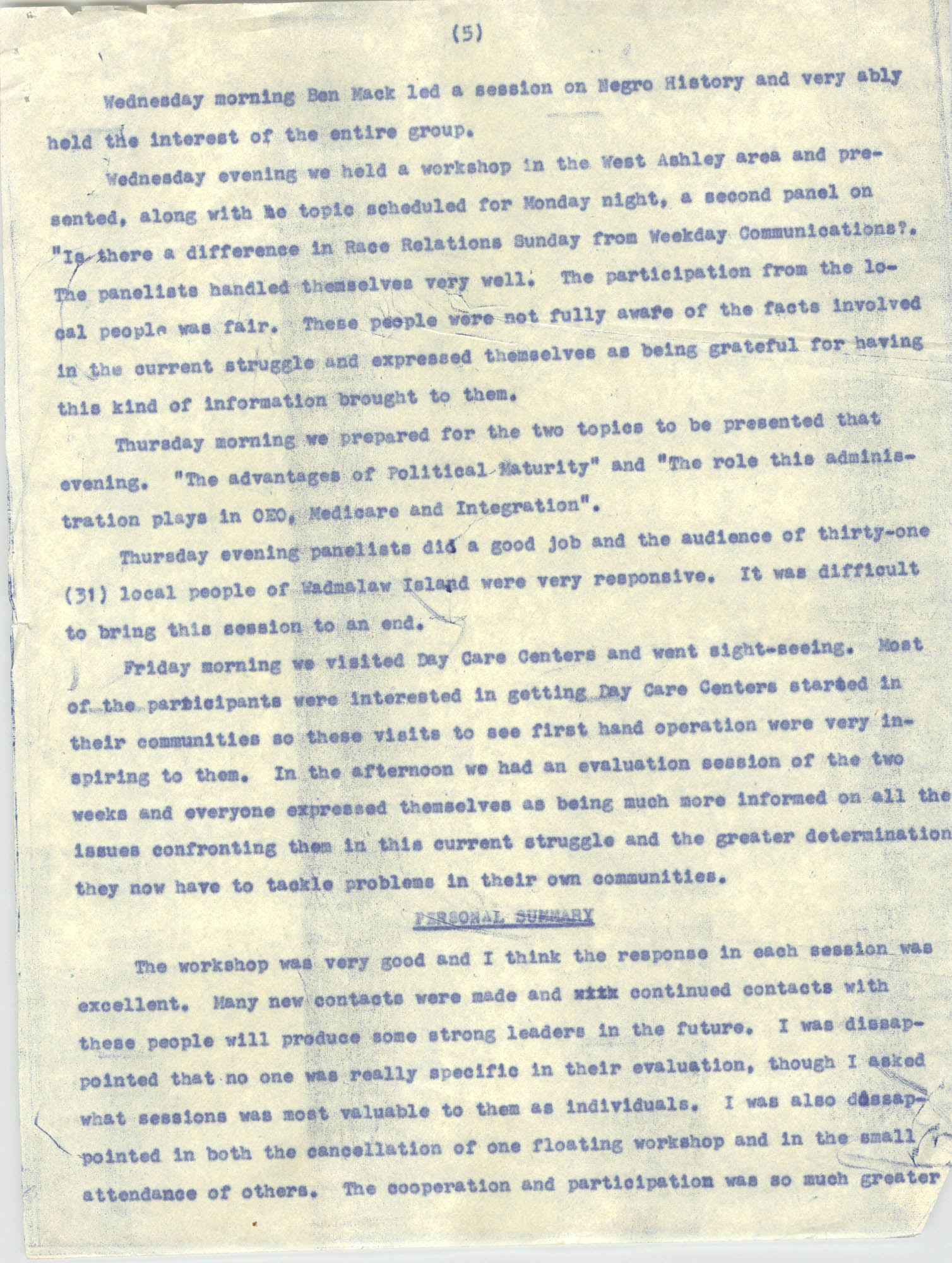 Report on Southwide Voter Education Workshop, 1966, Page 5