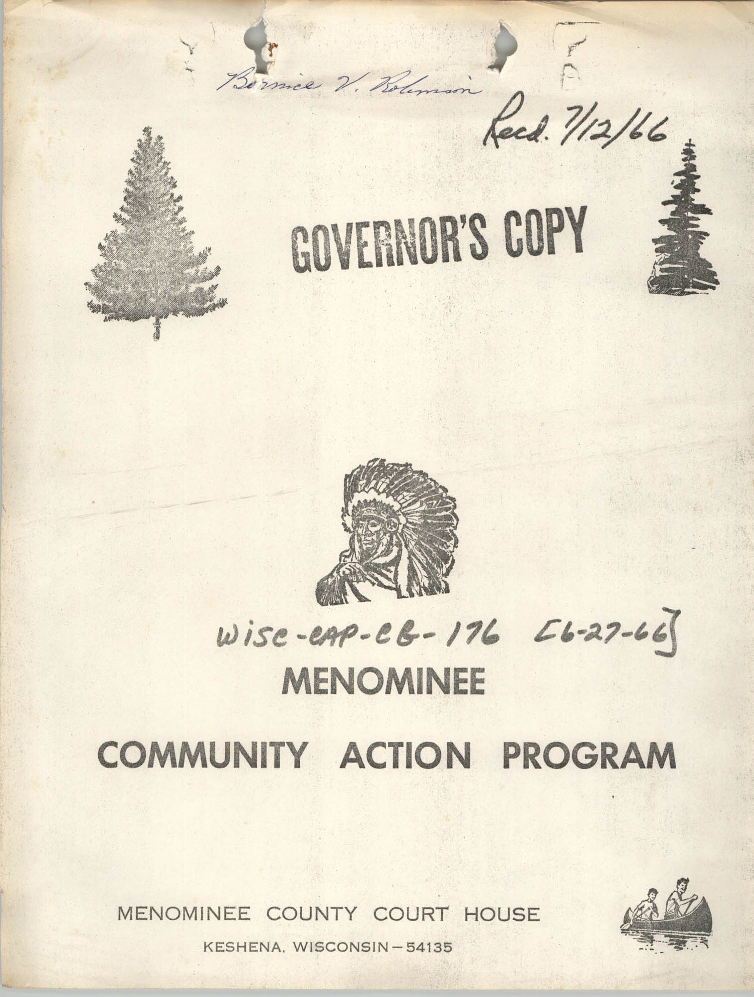 Menominee Community Action Program, Governor's Copy, Cover