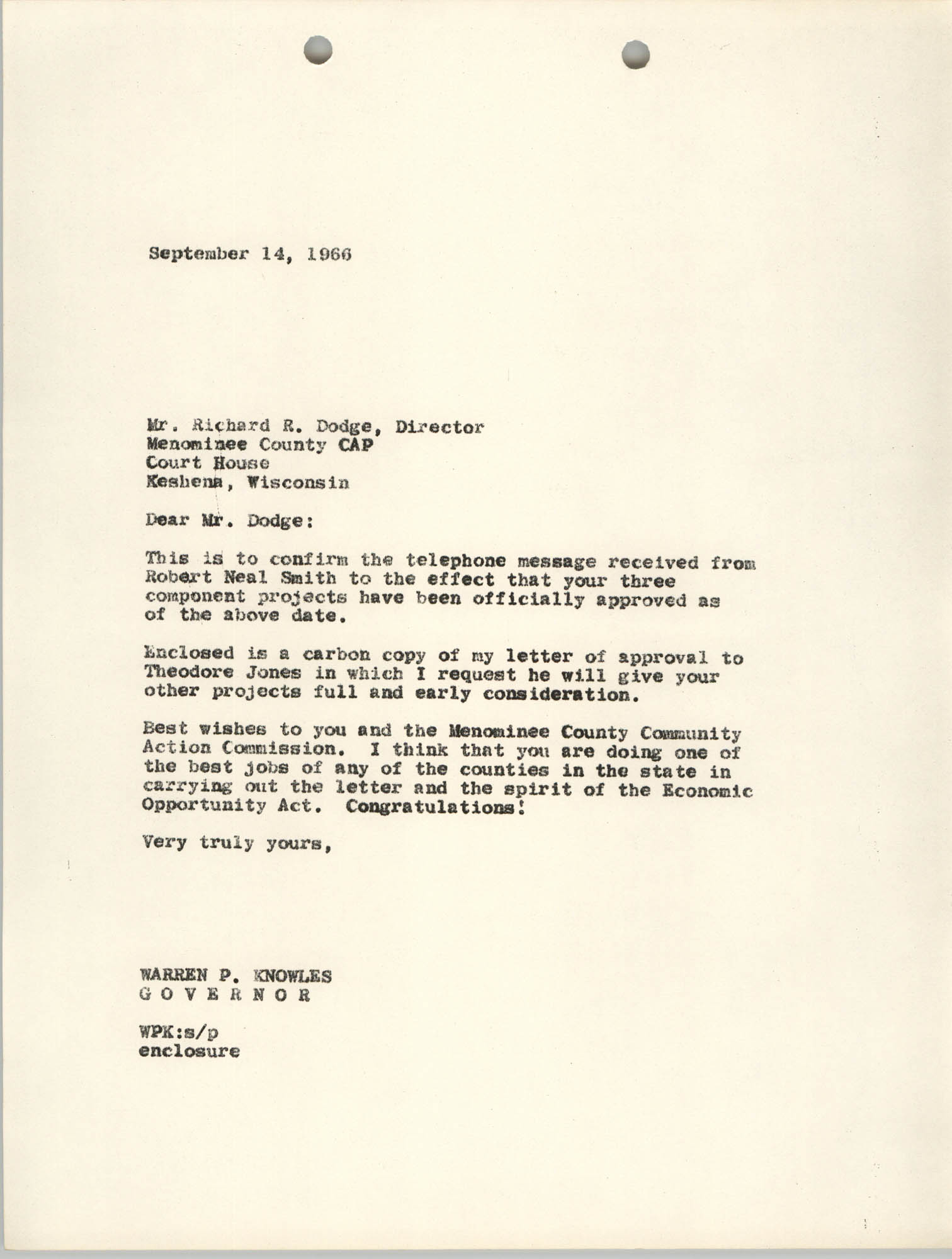 Letter from Warren P. Knowles to Richard R. Dodge