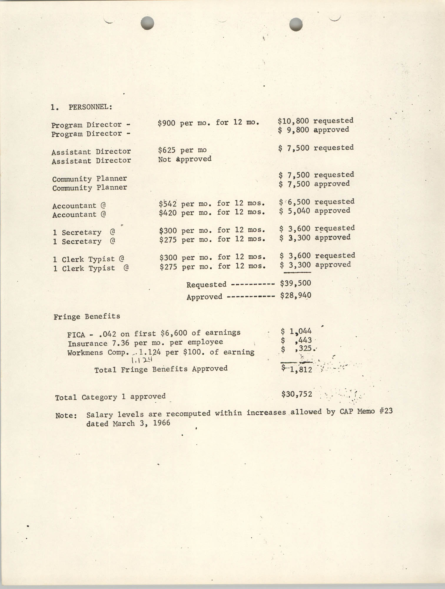 CAP Grant Materials, July 31, 1967, Page 2