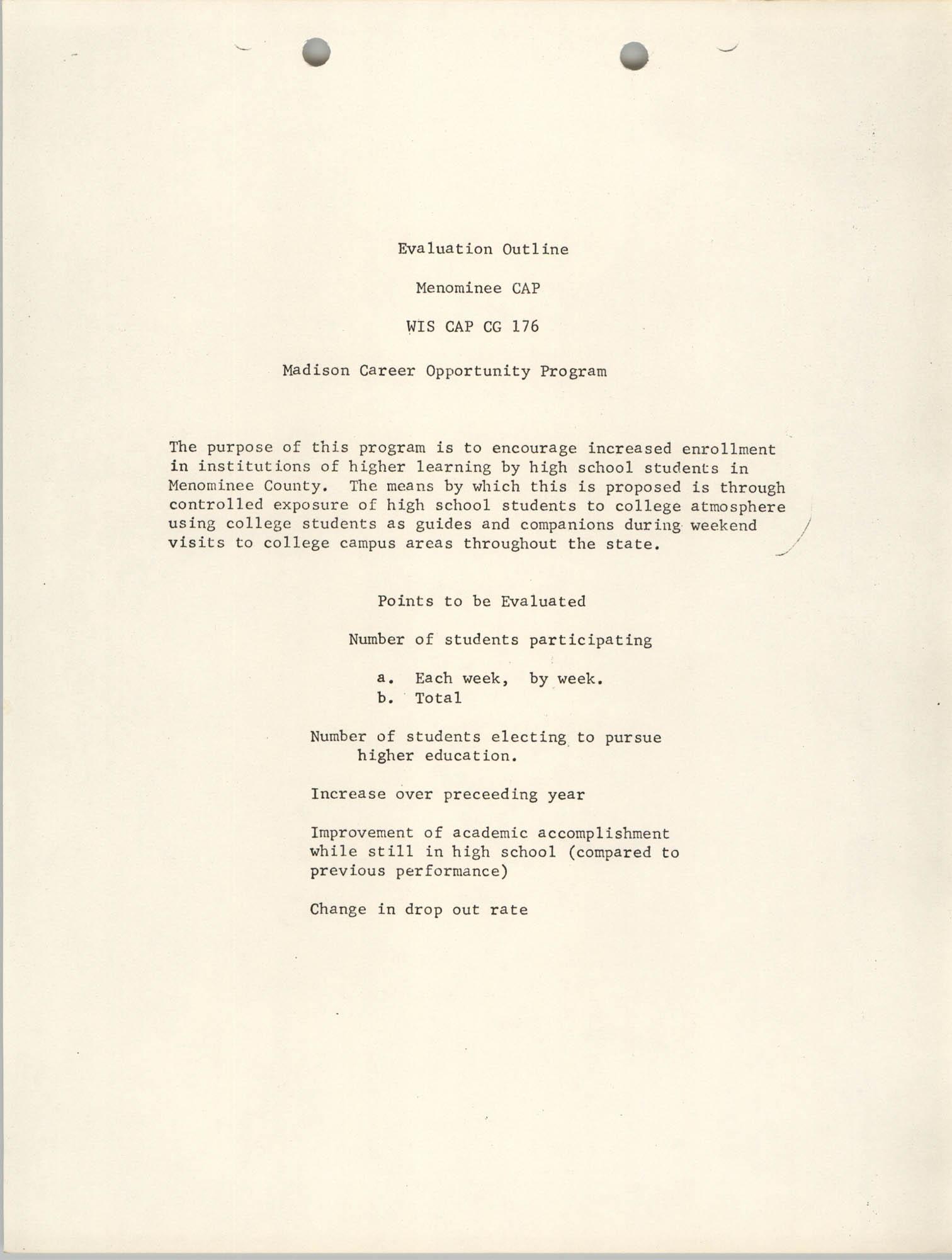 Evaluation Outline, Menominee CAP