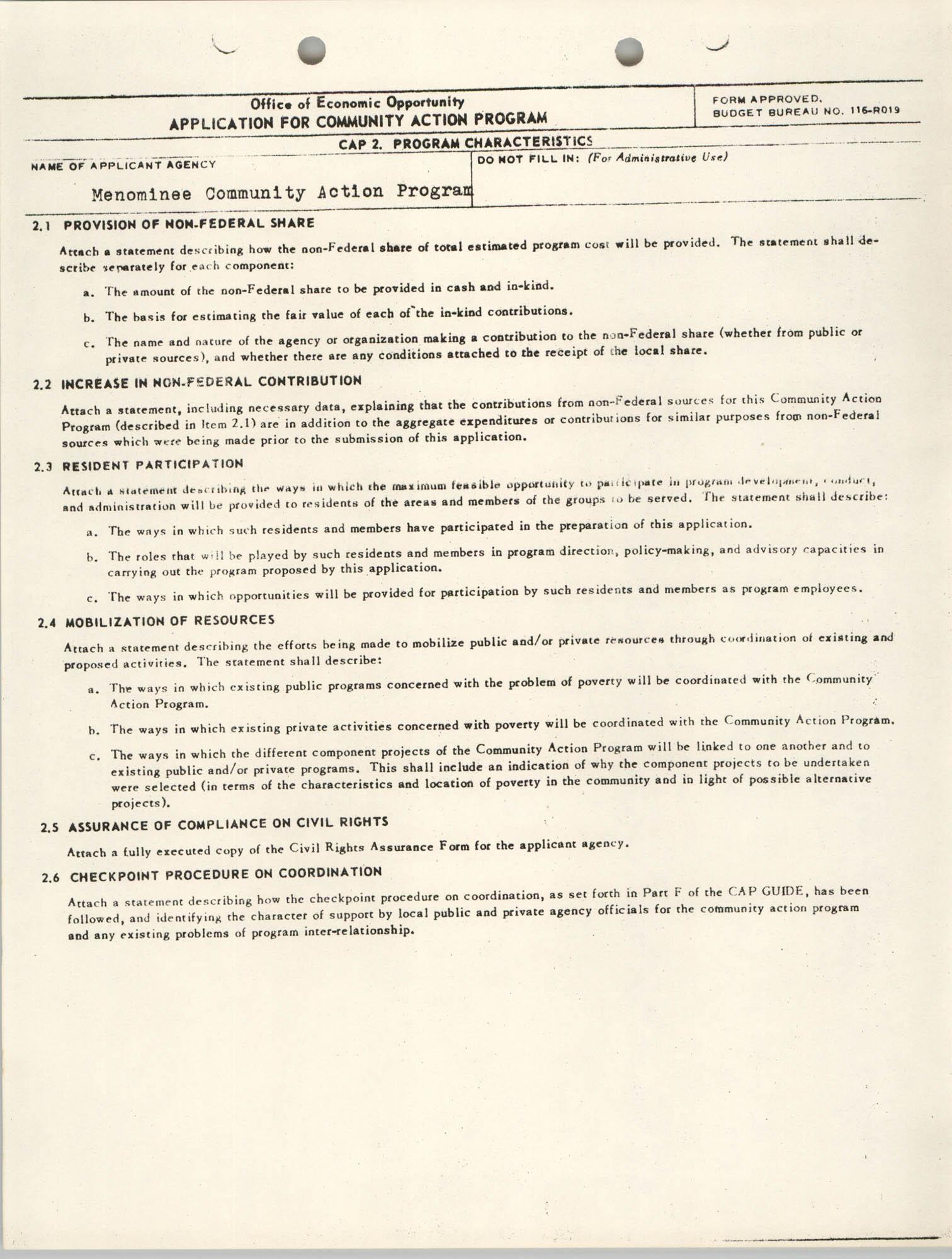 CAP Grant Materials, CAP 2 Program Characteristics, Page 1