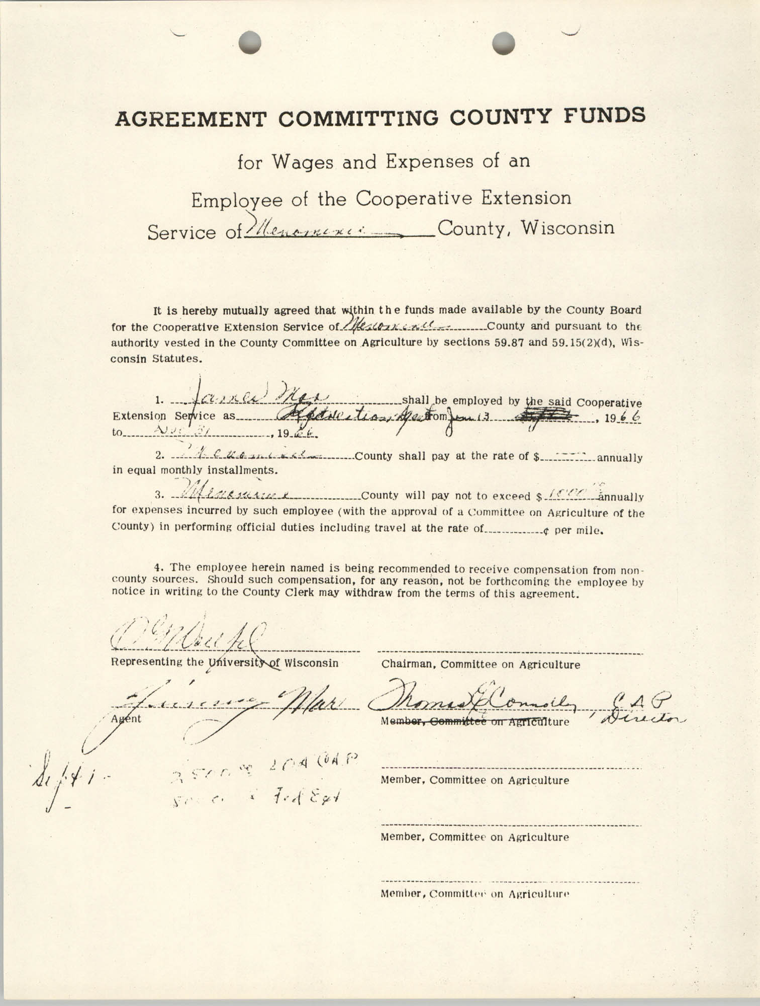 Agreement Committing County Funds, June 13 to November 31, 1966