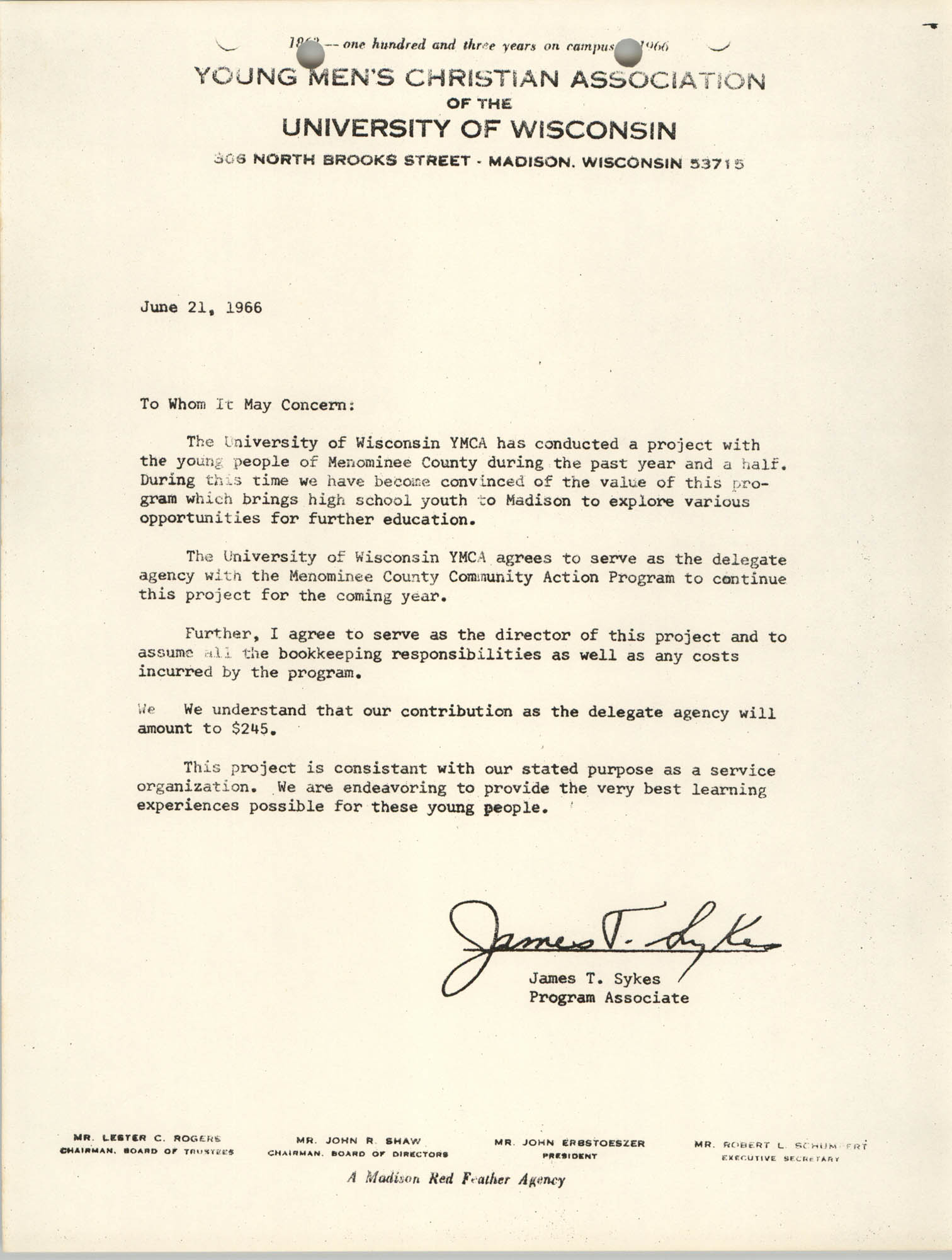 Letter from James T. Sykes to