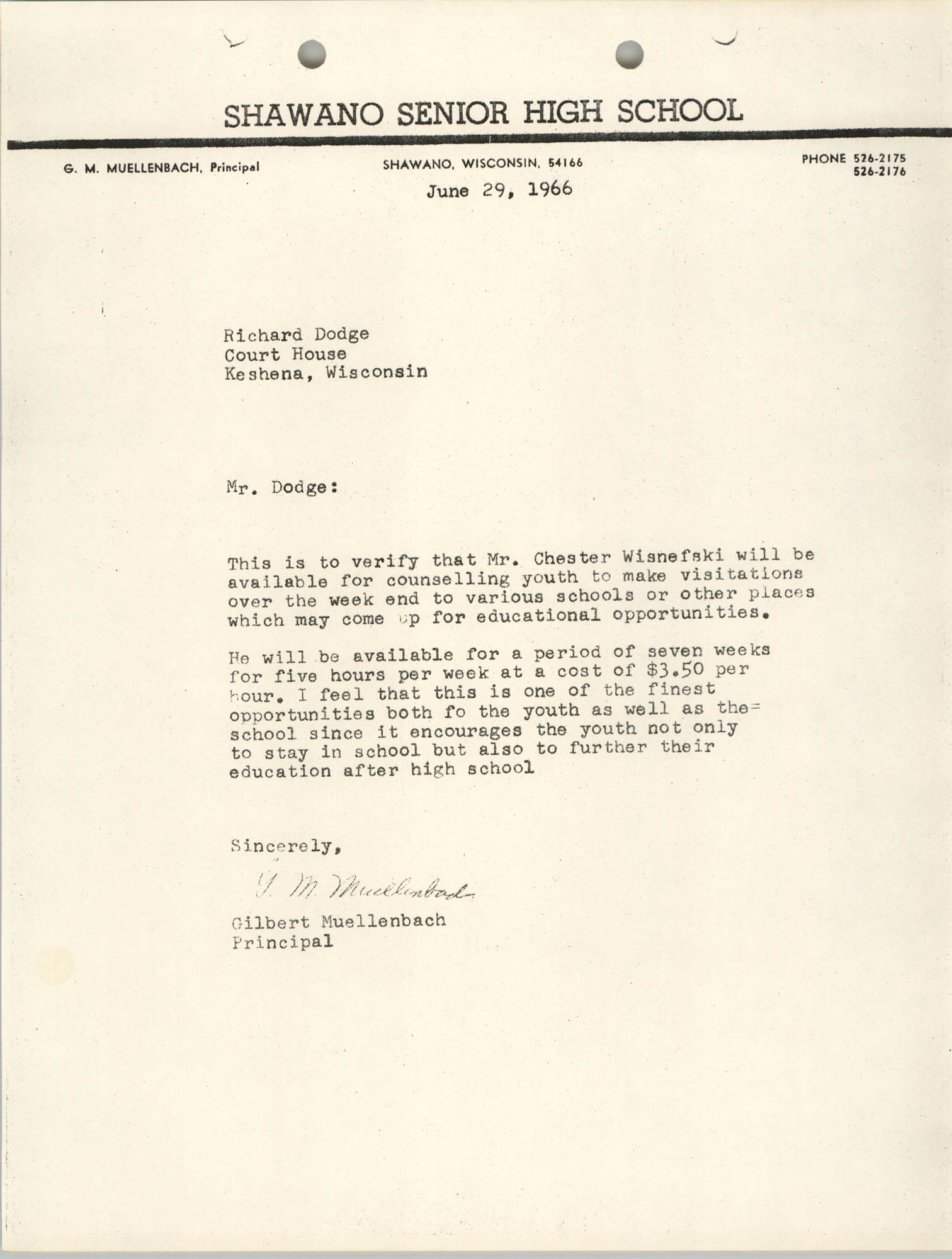 Letter from Gilbert Muellenbach to Richard Dodge, June 29, 1966