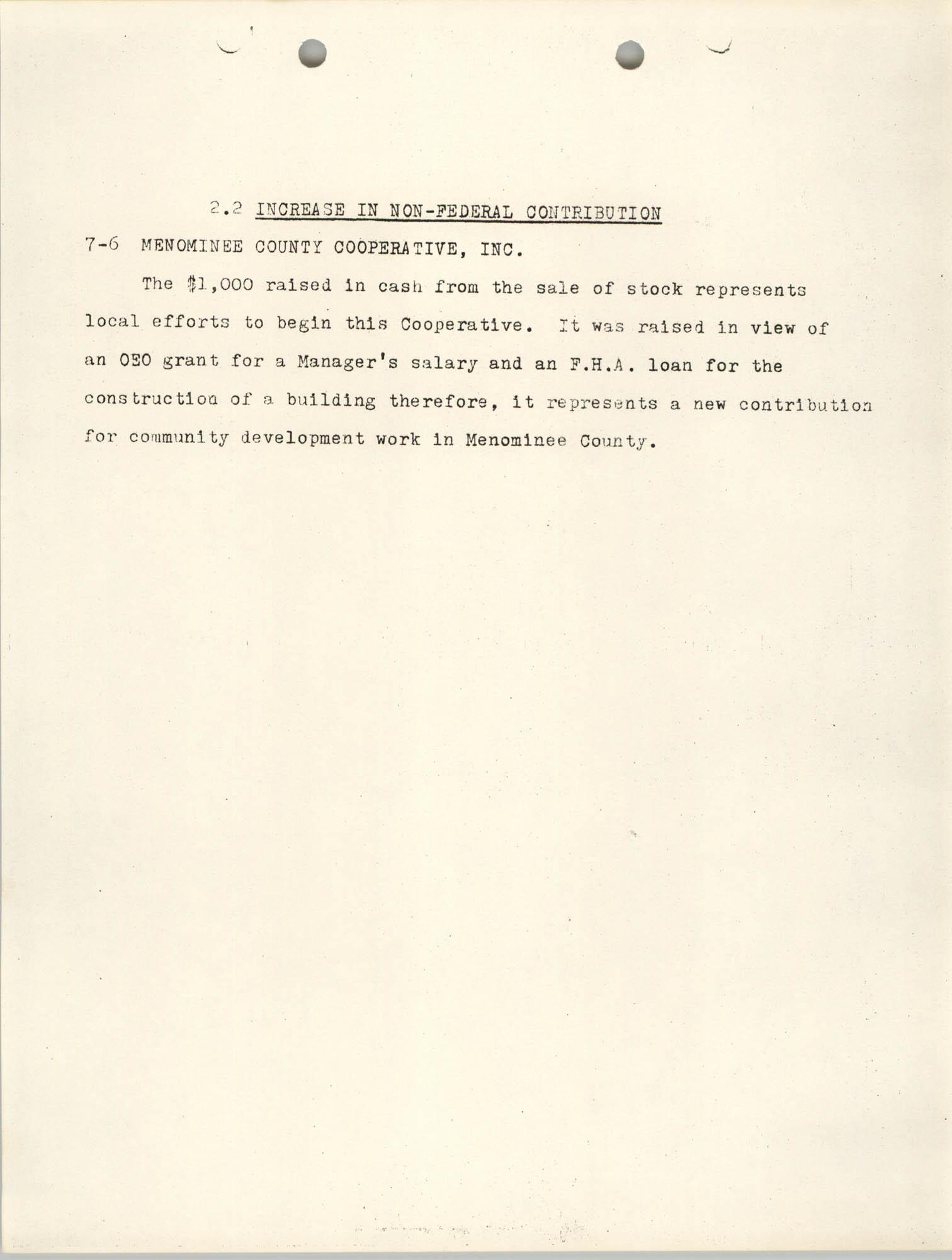 Increase in Non-Fedearl Contribution, June 27, 1966, Page 7