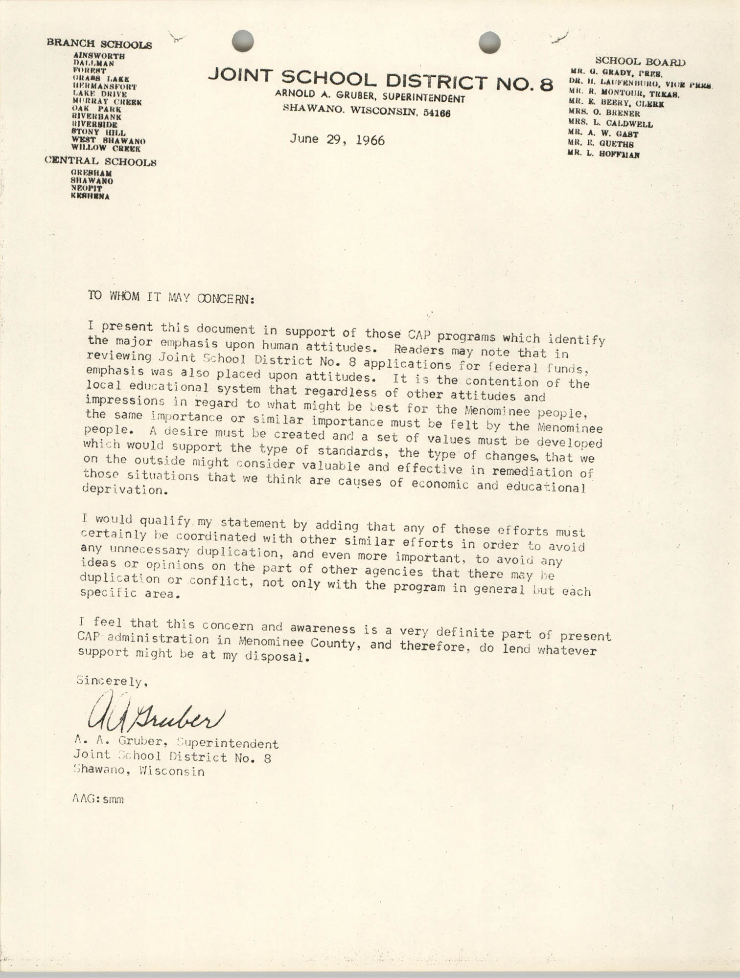 Letter from A. A. Gruber to