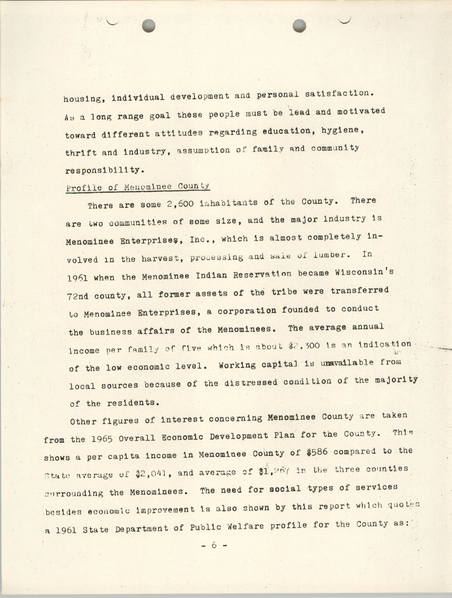 Work Program for the Menominee CAP, Page 6