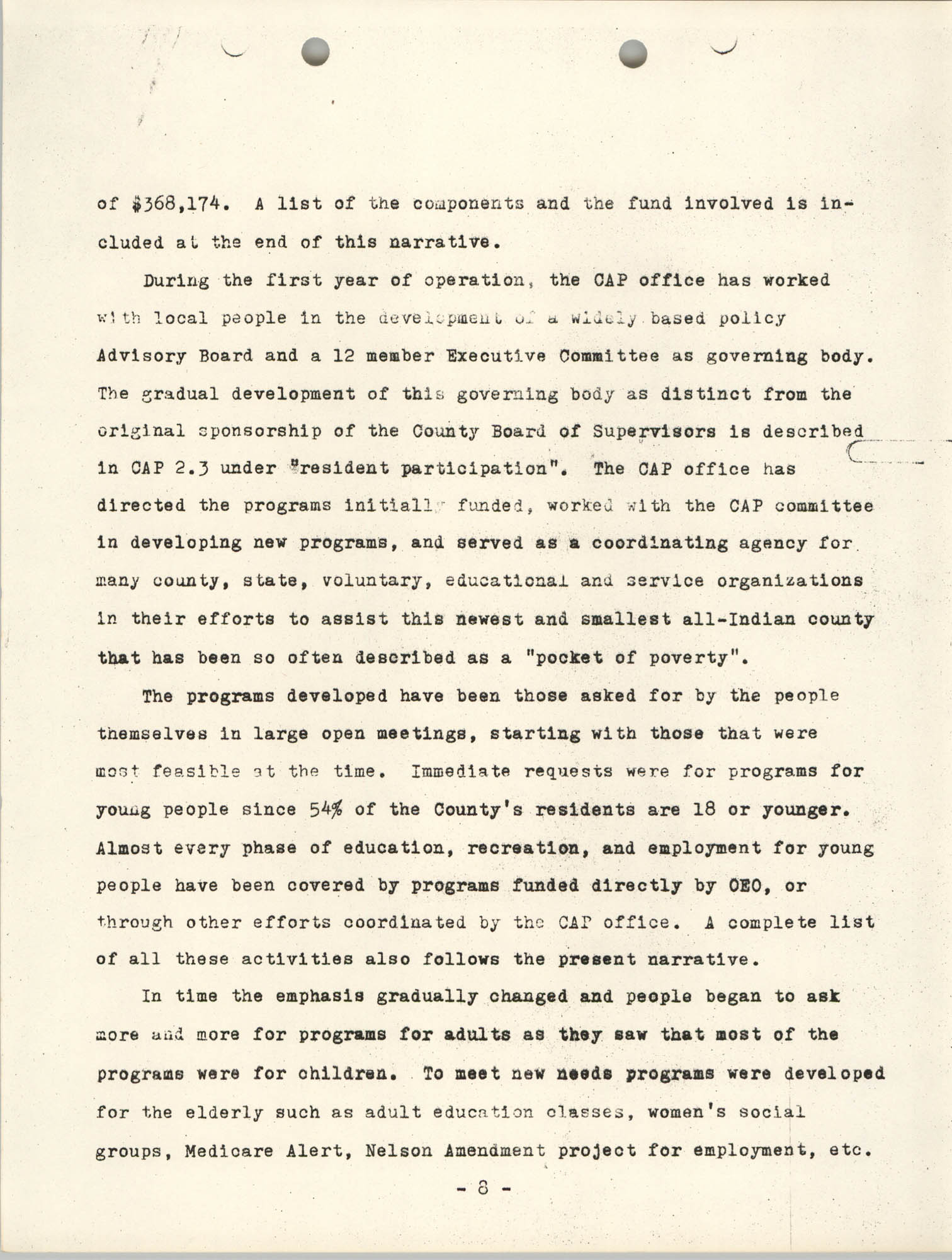 Work Program for the Menominee CAP, Page 8