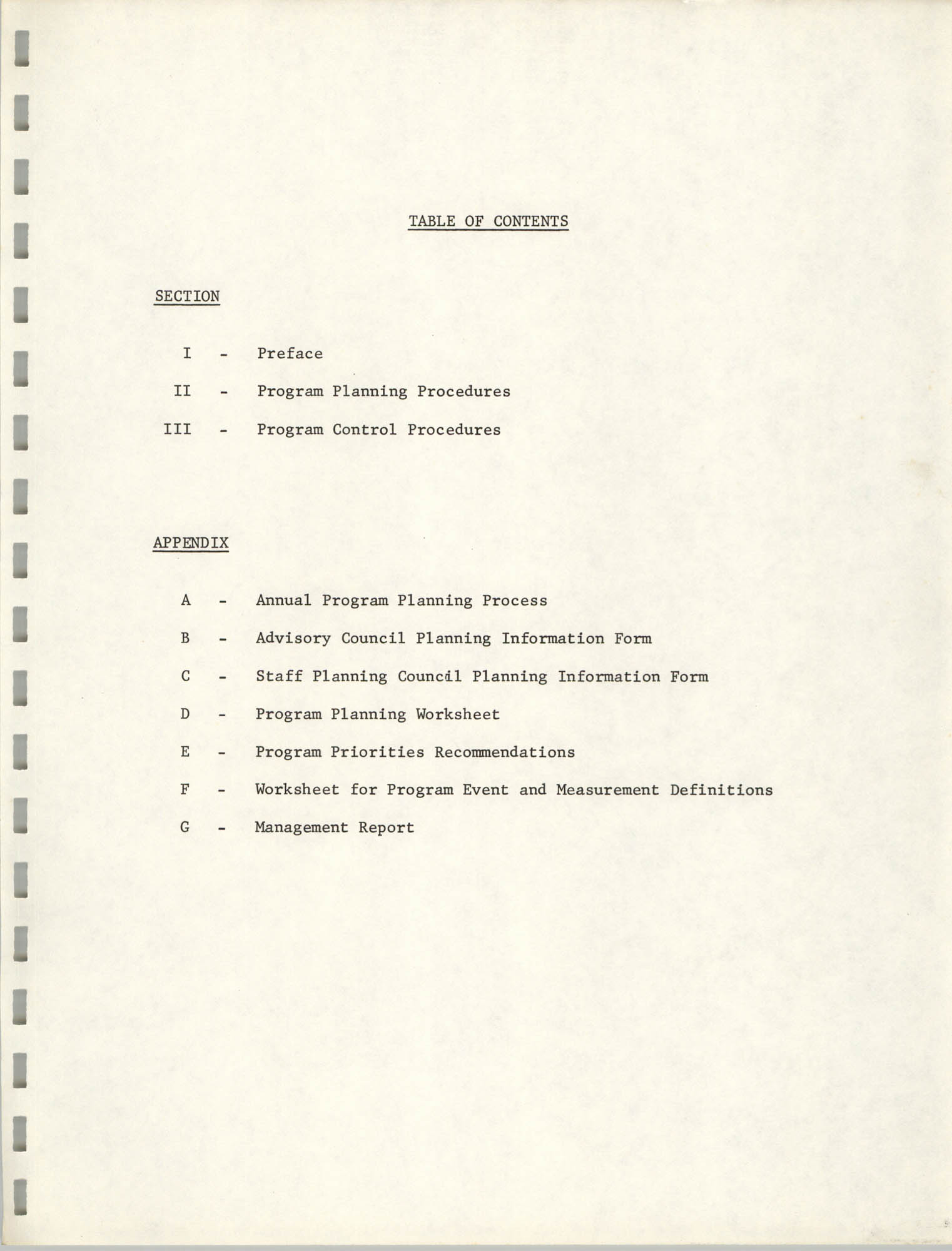 Program Planning and Control Procedures Guide for South Carolina Commission for Farm Workers, Inc., Table of Contents