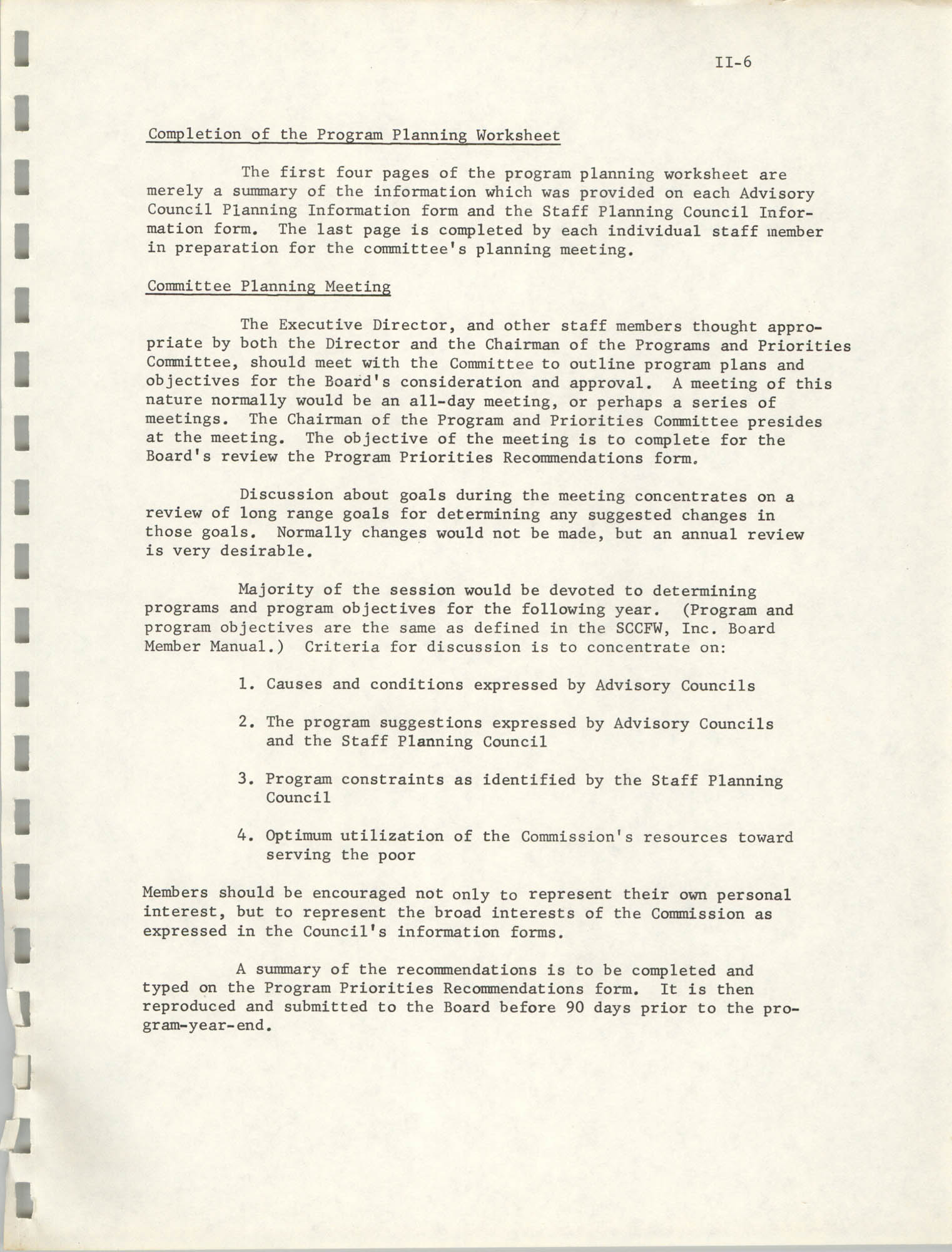 Program Planning and Control Procedures Guide for South Carolina Commission for Farm Workers, Inc., Page II-6
