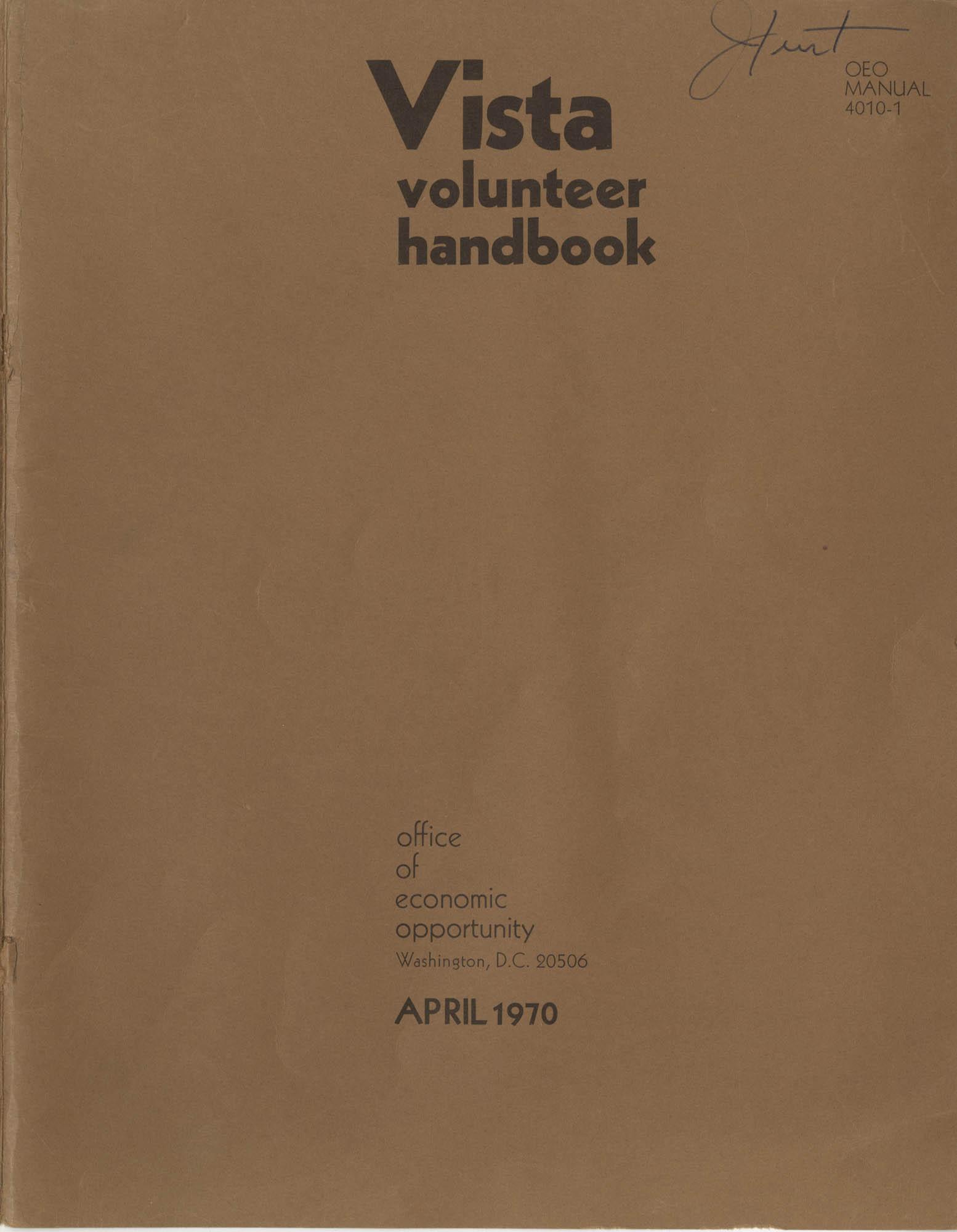 Vista Volunteer Handbook, April 1970, Front Cover Exterior