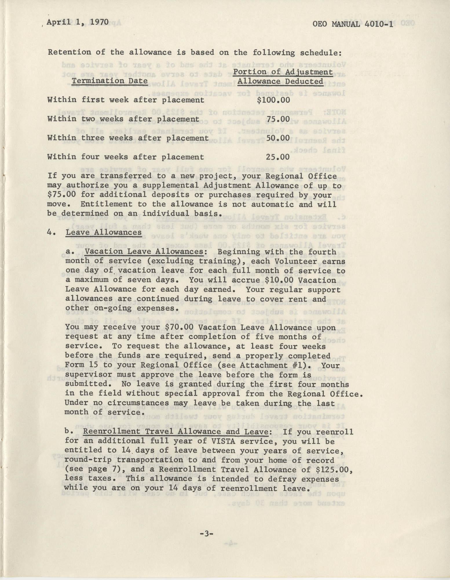 Vista Volunteer Handbook, April 1970, Page 3