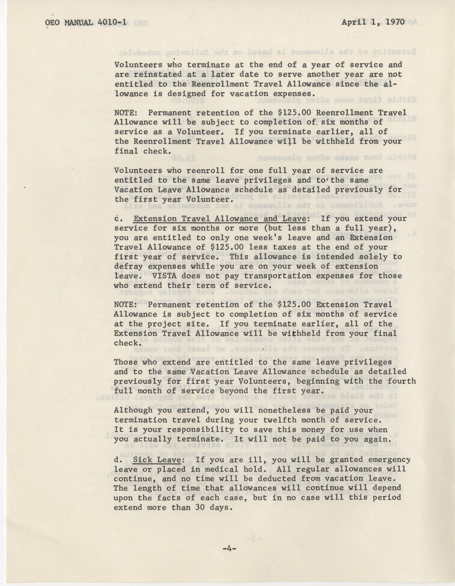 Vista Volunteer Handbook, April 1970, Page 4