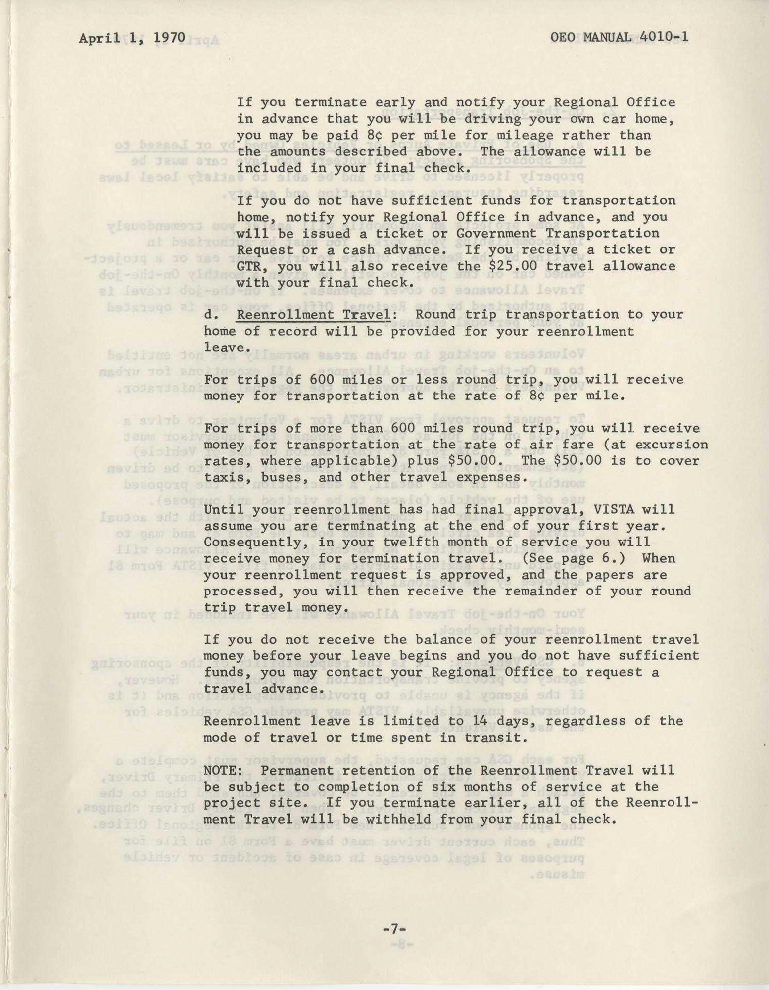 Vista Volunteer Handbook, April 1970, Page 7