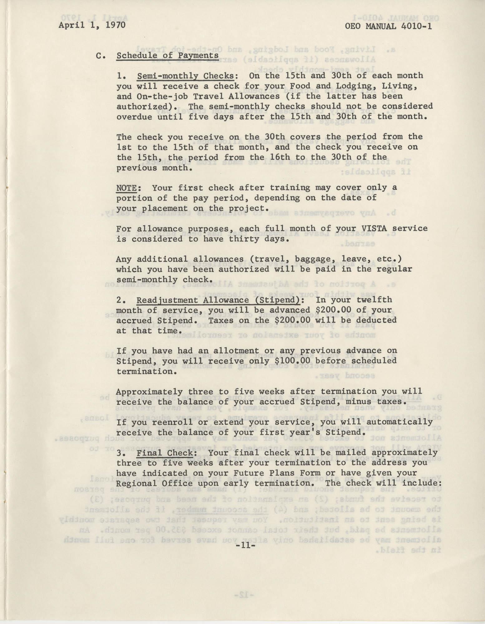 Vista Volunteer Handbook, April 1970, Page 11