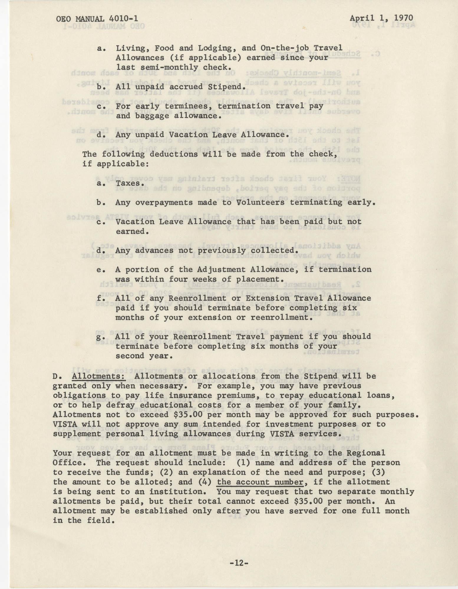 Vista Volunteer Handbook, April 1970, Page 12